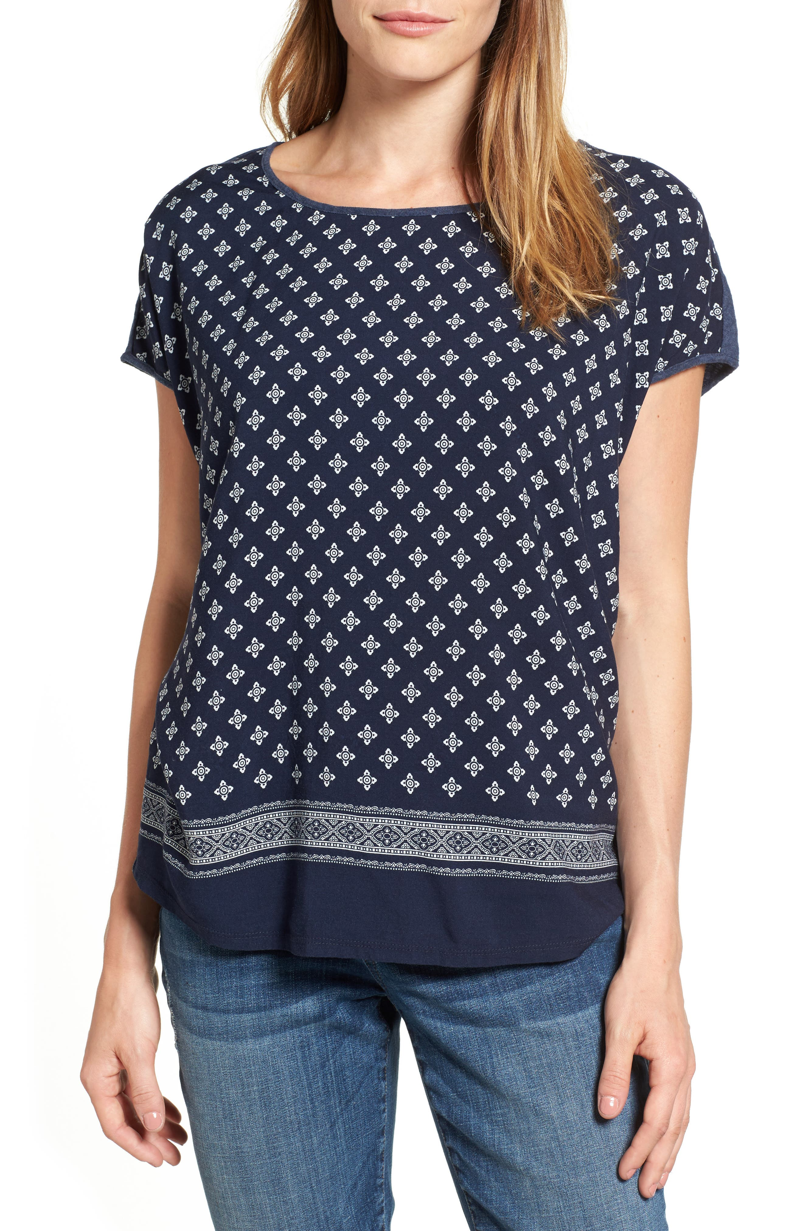 Two by Vince Camuto Heritage Foulard Mixed Media Tee (Regular & Petite)