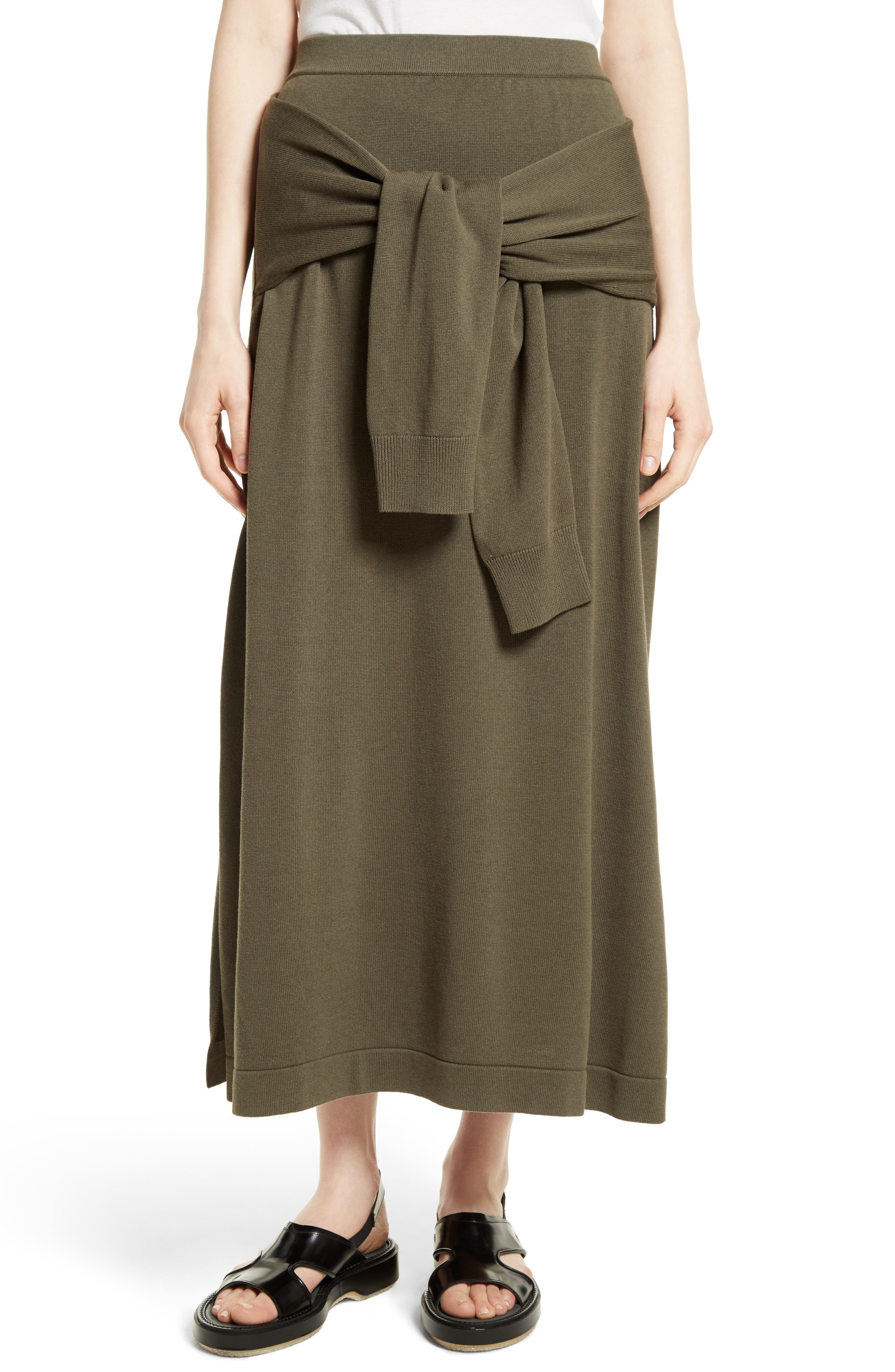 Tie Detail Knit Maxi Skirt,                             Main thumbnail 1, color,                             Military