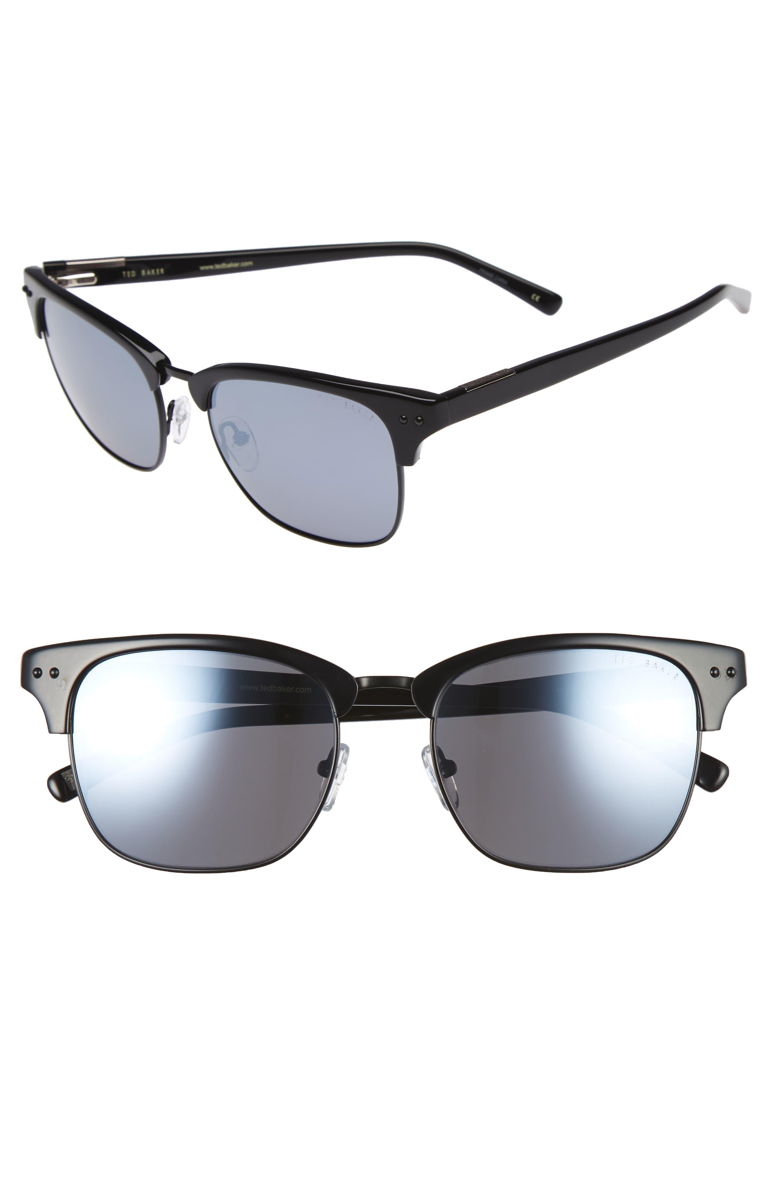 55mm Polarized Browline Sunglasses,                         Main,                         color, Black