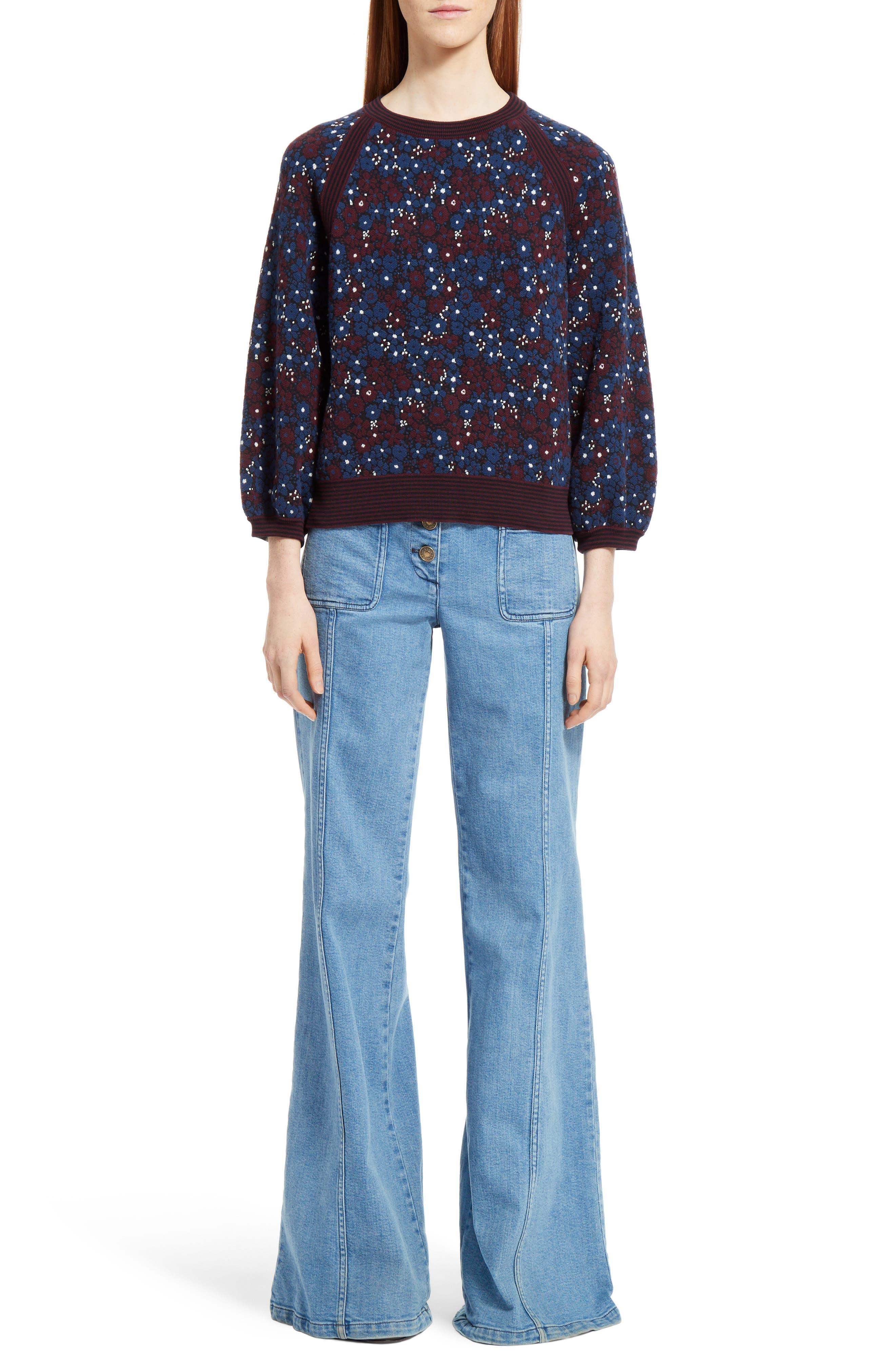 Floral Jacquard Sweater,                             Main thumbnail 1, color,                             Multicolor Dark Navy