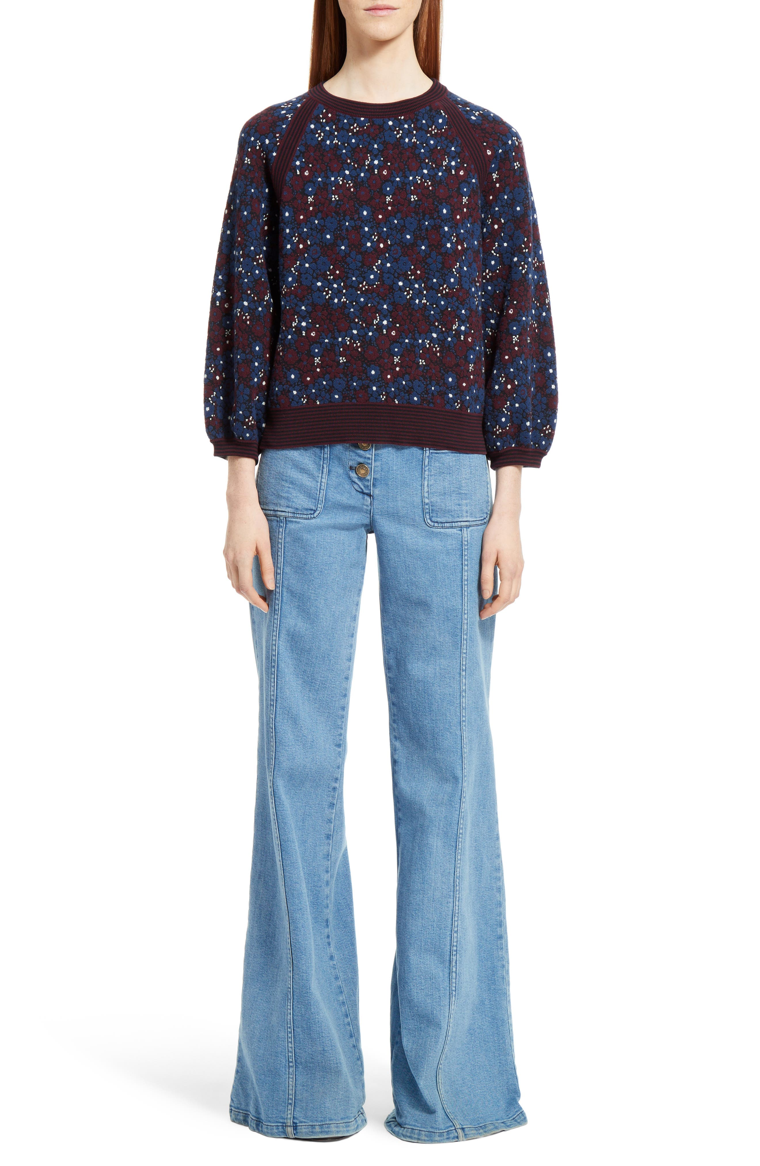 Floral Jacquard Sweater,                         Main,                         color, Multicolor Dark Navy