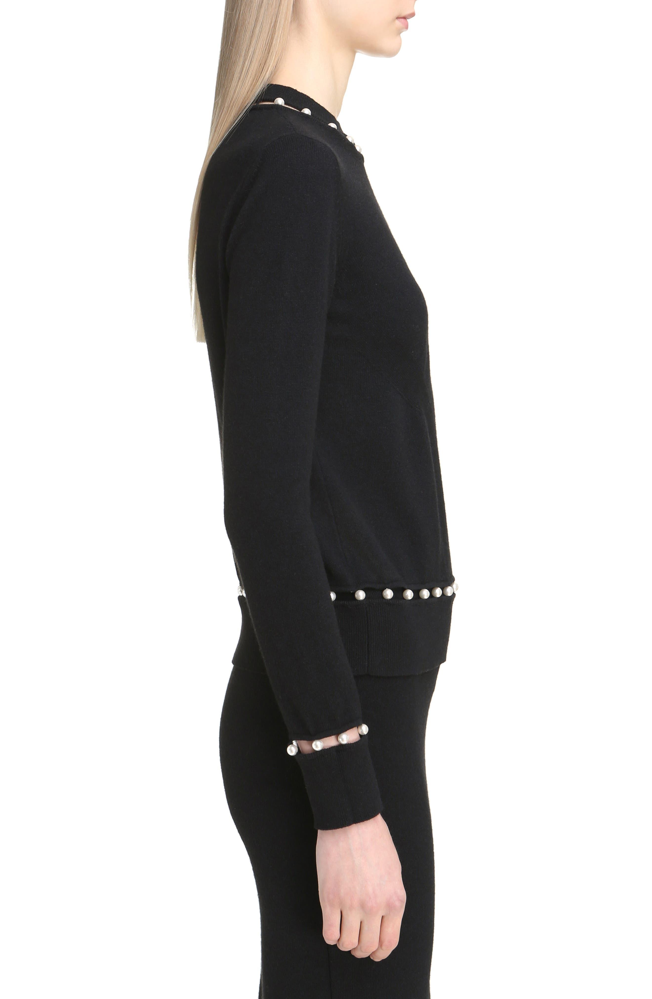 Imitation Pearl Inset Wool Blend Sweater,                             Alternate thumbnail 4, color,                             Black