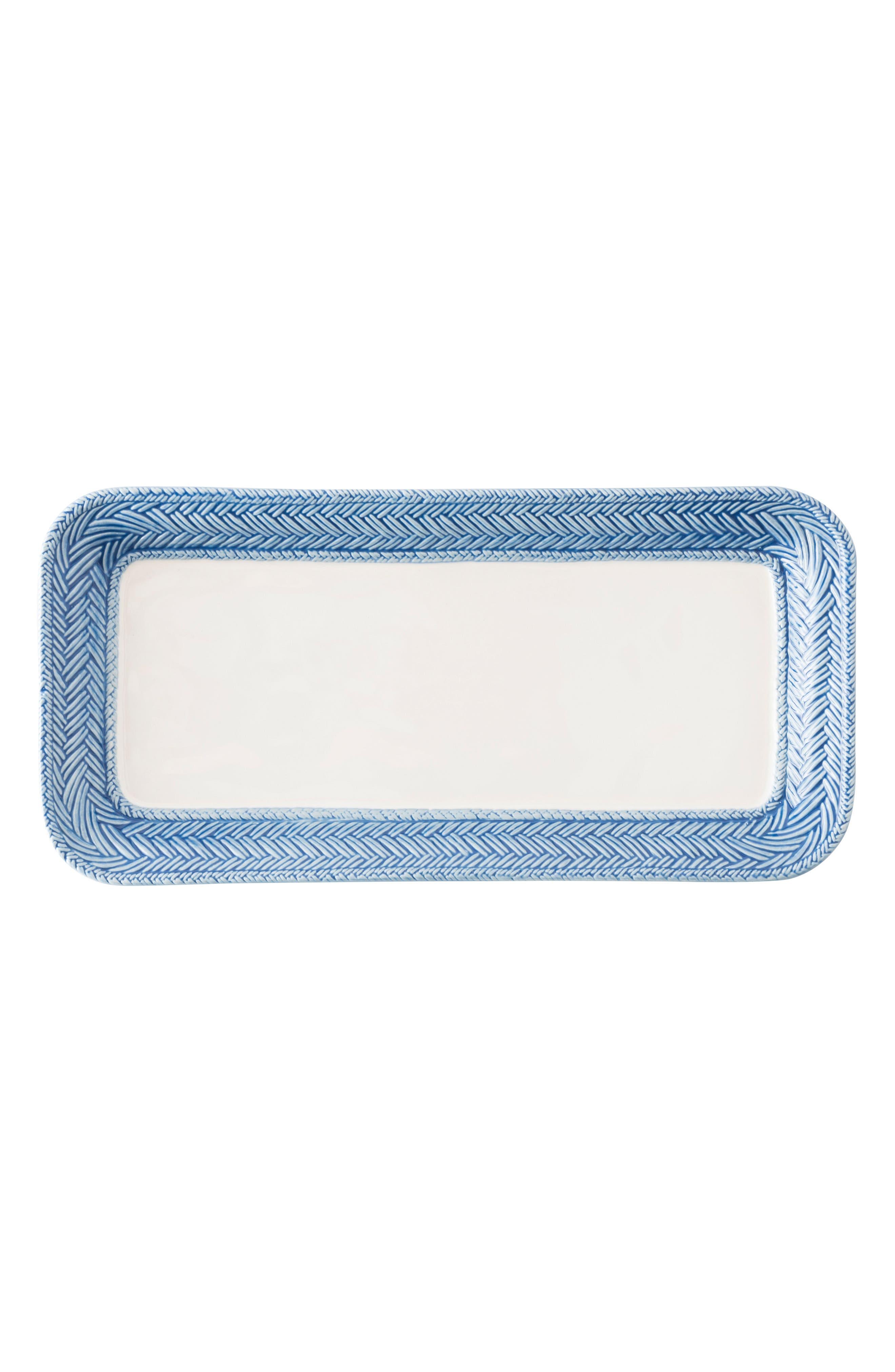 Le Panier Stoneware Hostess Tray,                         Main,                         color, Whitewash/ Delft Blue