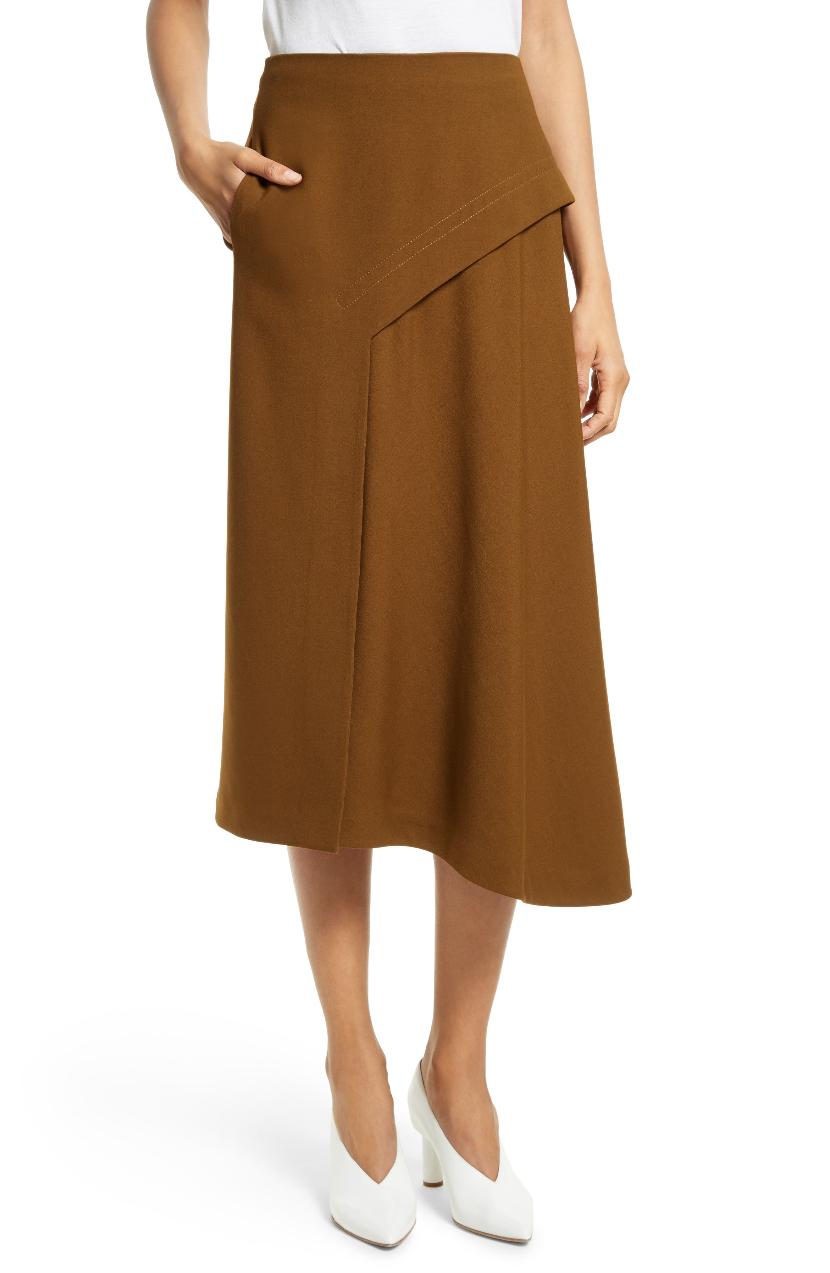 Draped Twill Skirt,                         Main,                         color, Loden
