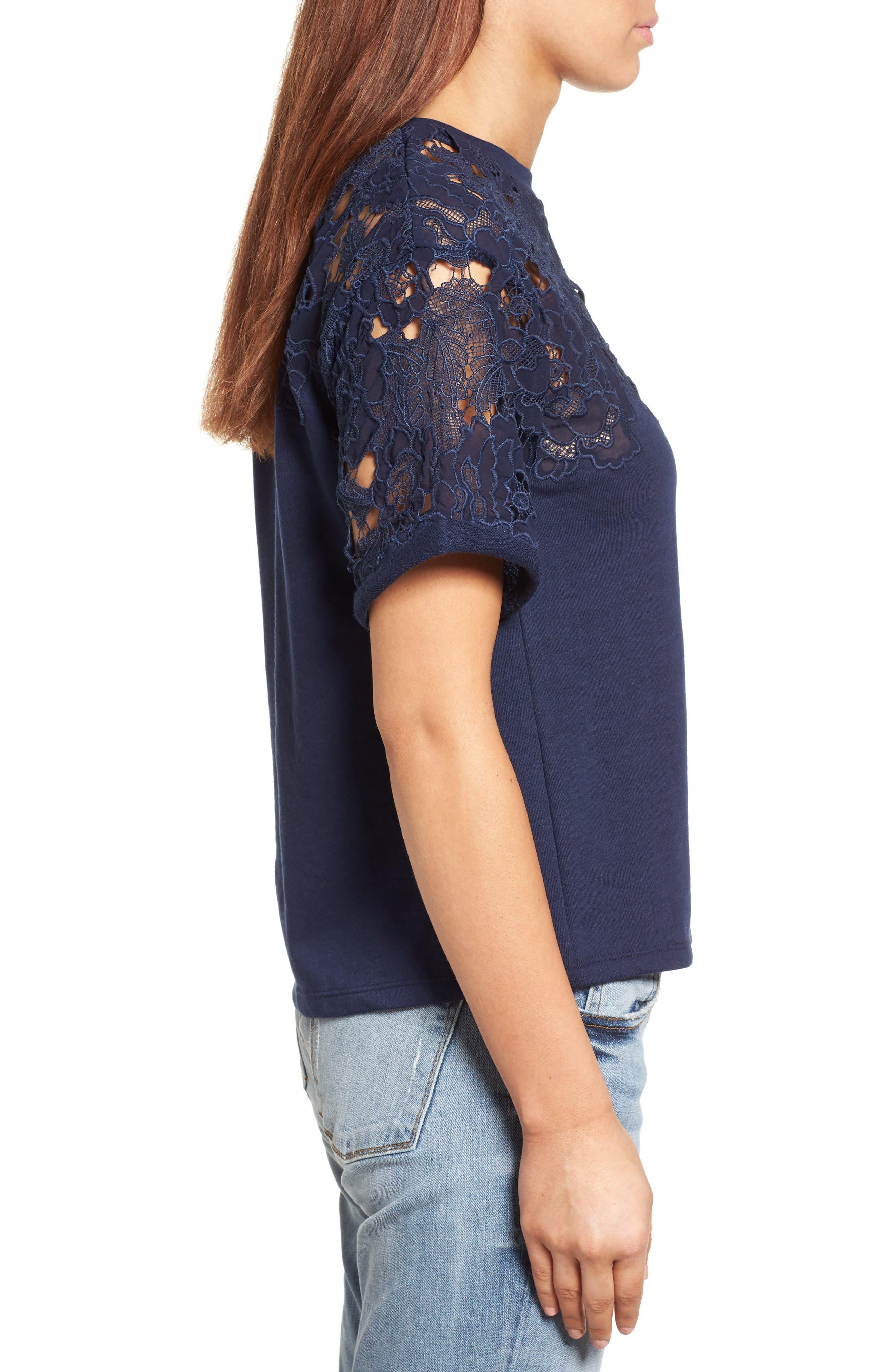 Alternate Image 3  - Halogen® Lace Detail Sweatshirt