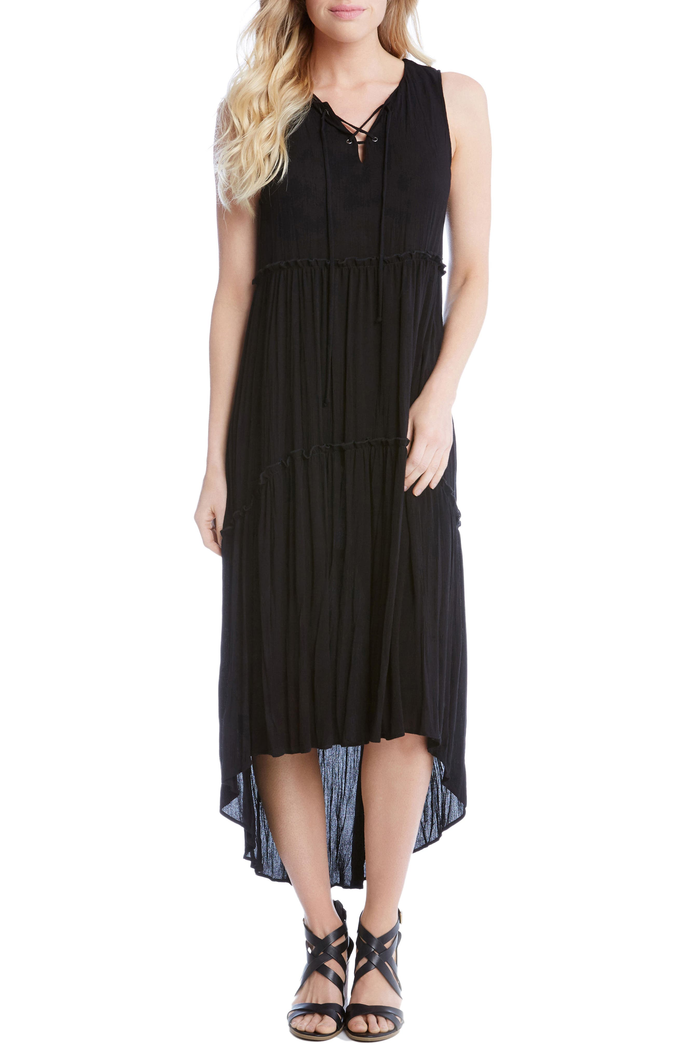 Lace-Up Tiered High/Low Dress,                             Main thumbnail 1, color,                             Black