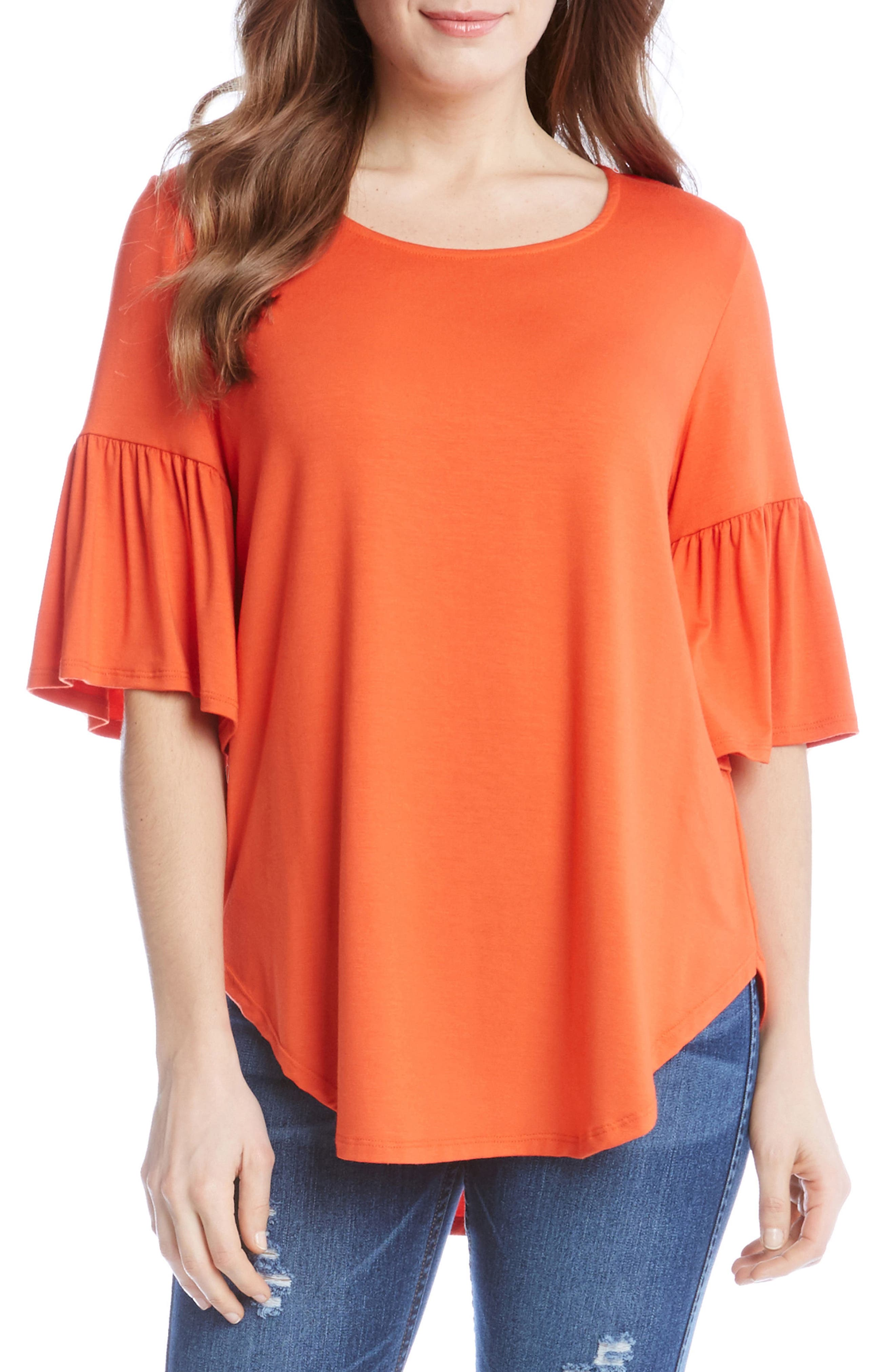 Bell Sleeve Top,                             Main thumbnail 1, color,                             Orange