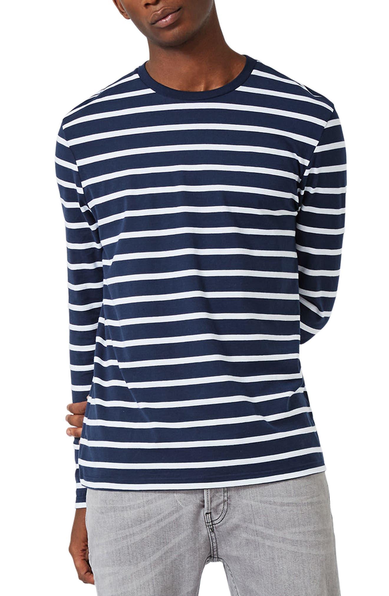 Stripe Slim Fit Long Sleeve T-Shirt,                         Main,                         color, Dark Blue Multi