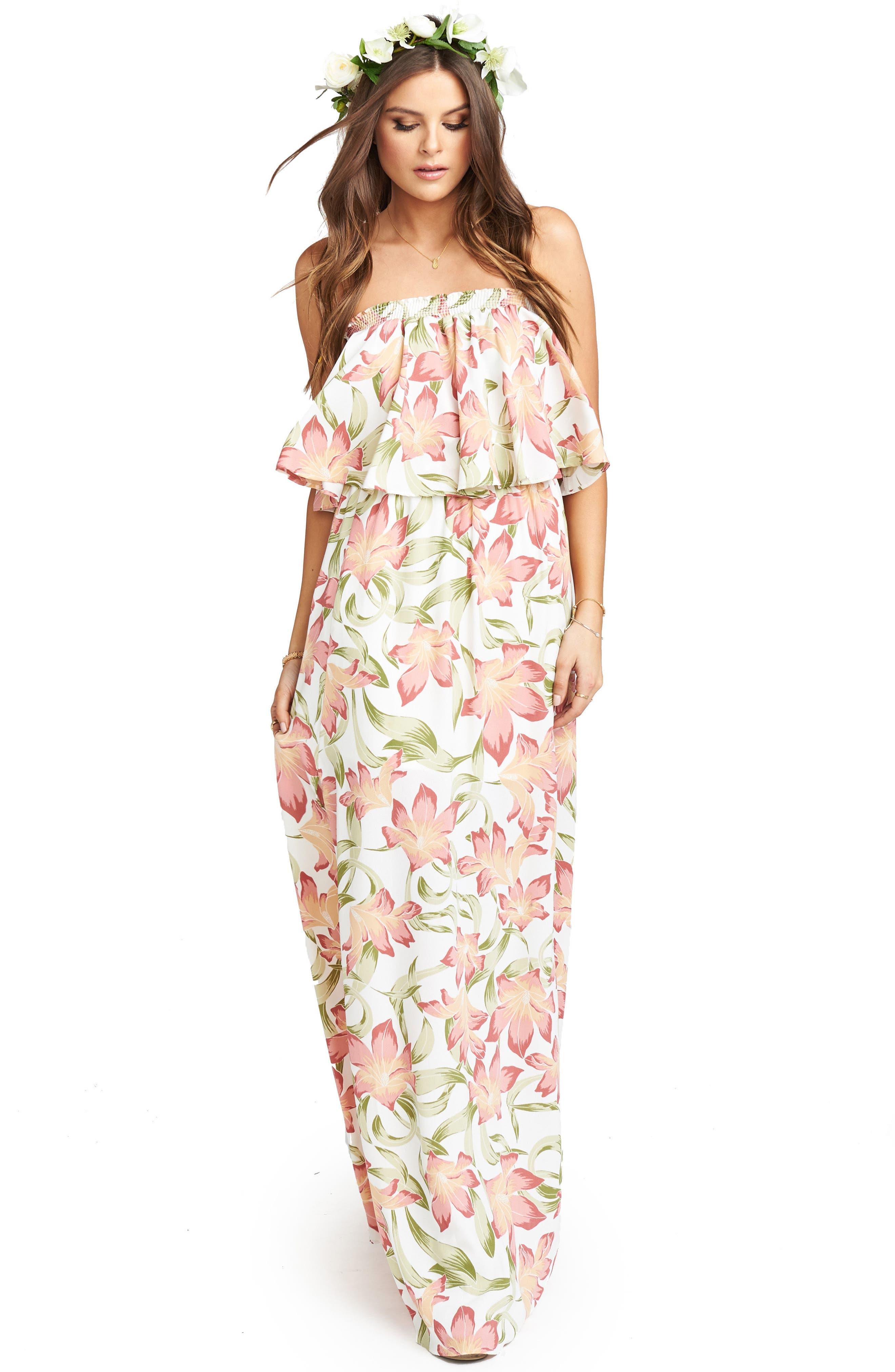 Hacienda Maxi Dress,                             Alternate thumbnail 4, color,                             Lily Lady Crepe
