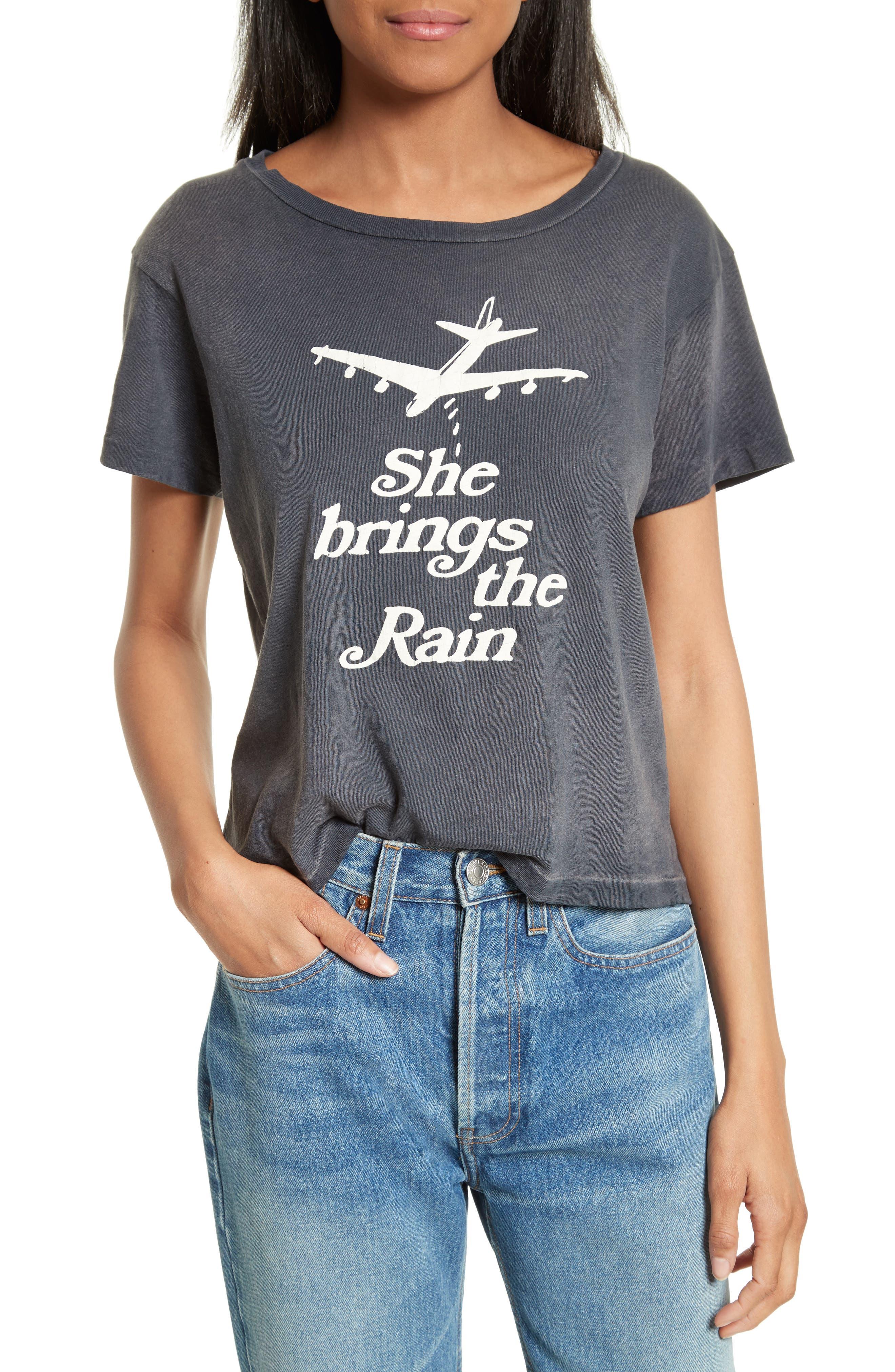 She Brings the Rain Graphic Tee,                         Main,                         color, Black Cloud