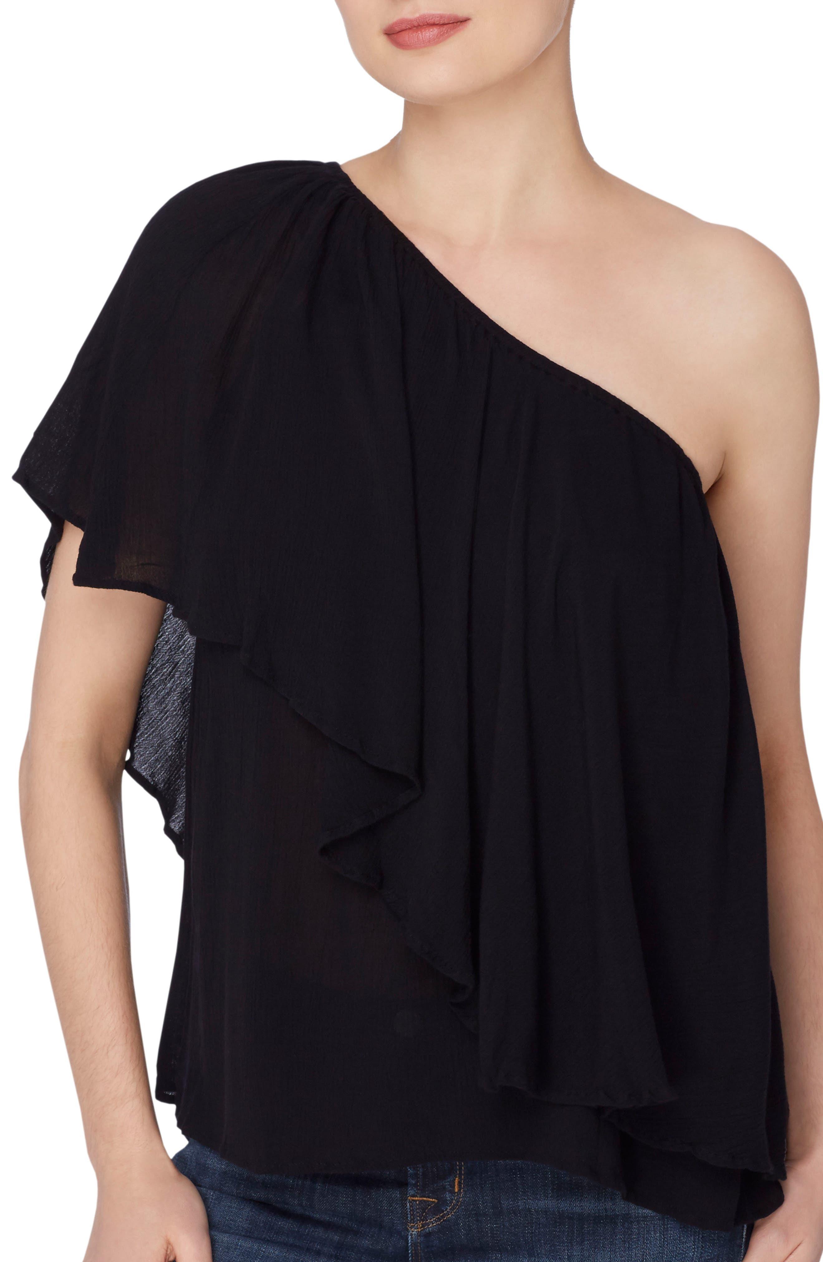 Magritte One-Shoulder Top,                         Main,                         color, Black