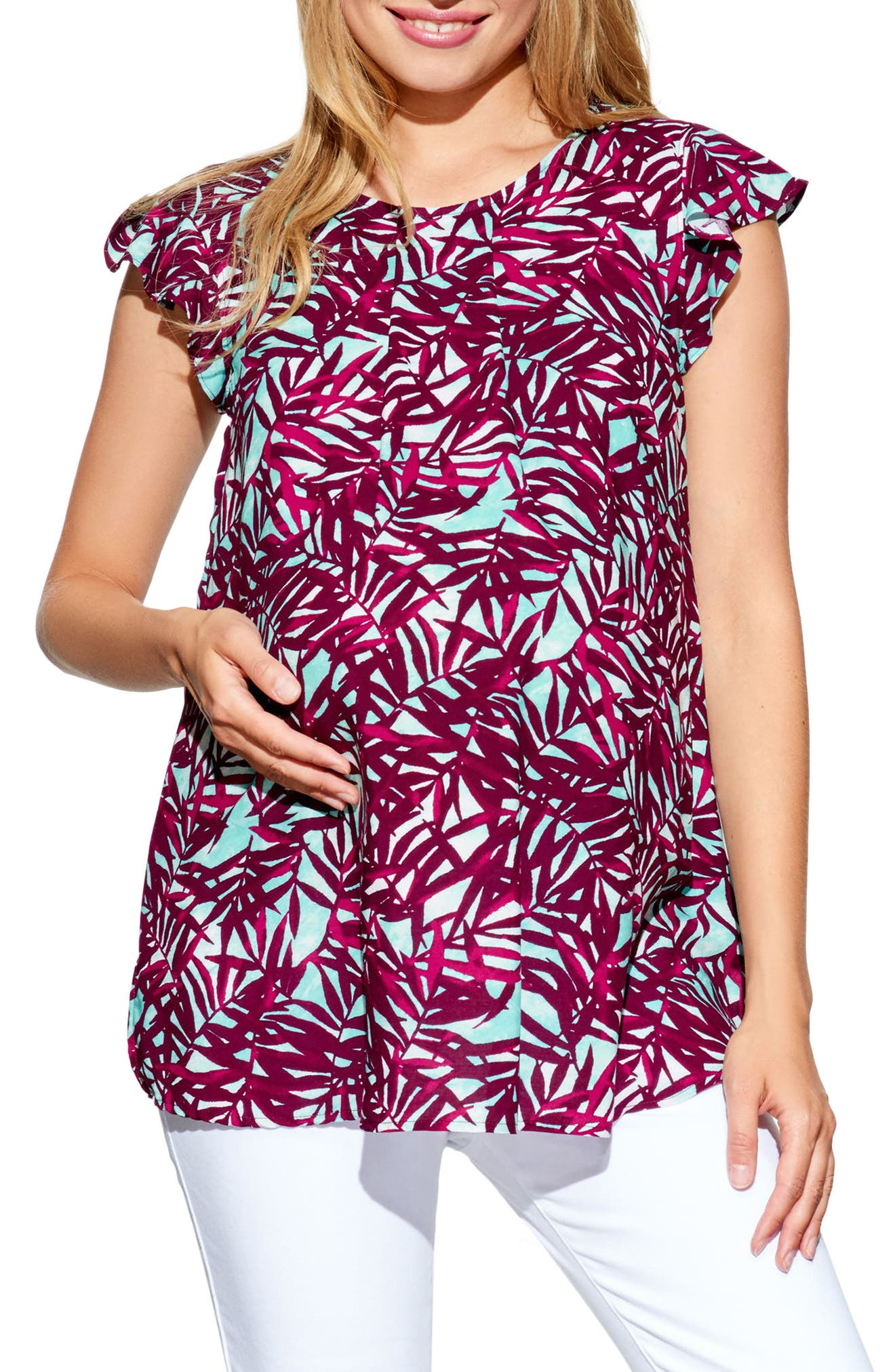 Ruffle Sleeve Maternity Top,                         Main,                         color, Tropics