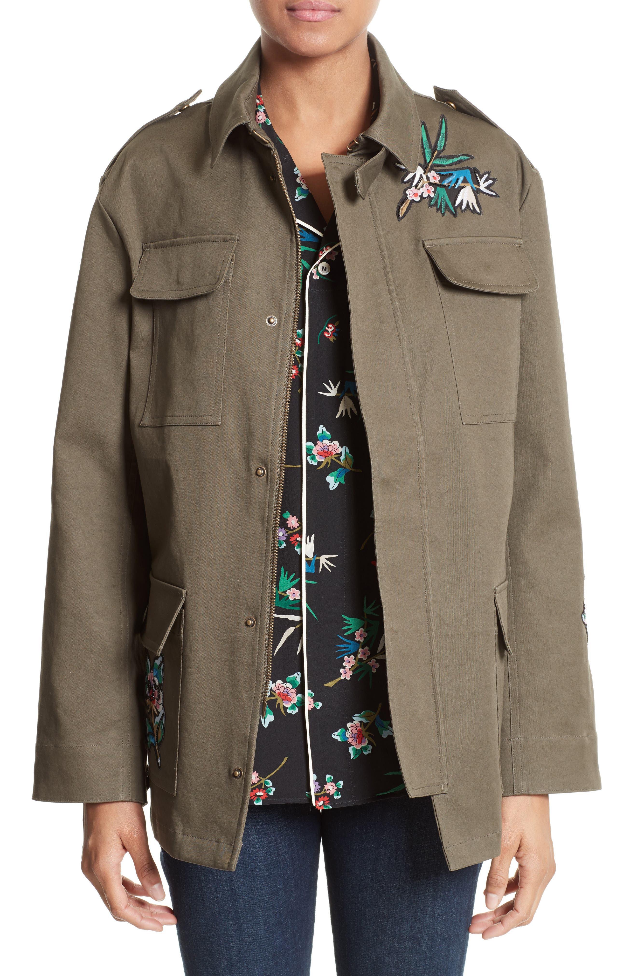 RED Valentino Embroidered Cotton Gabardine Jacket