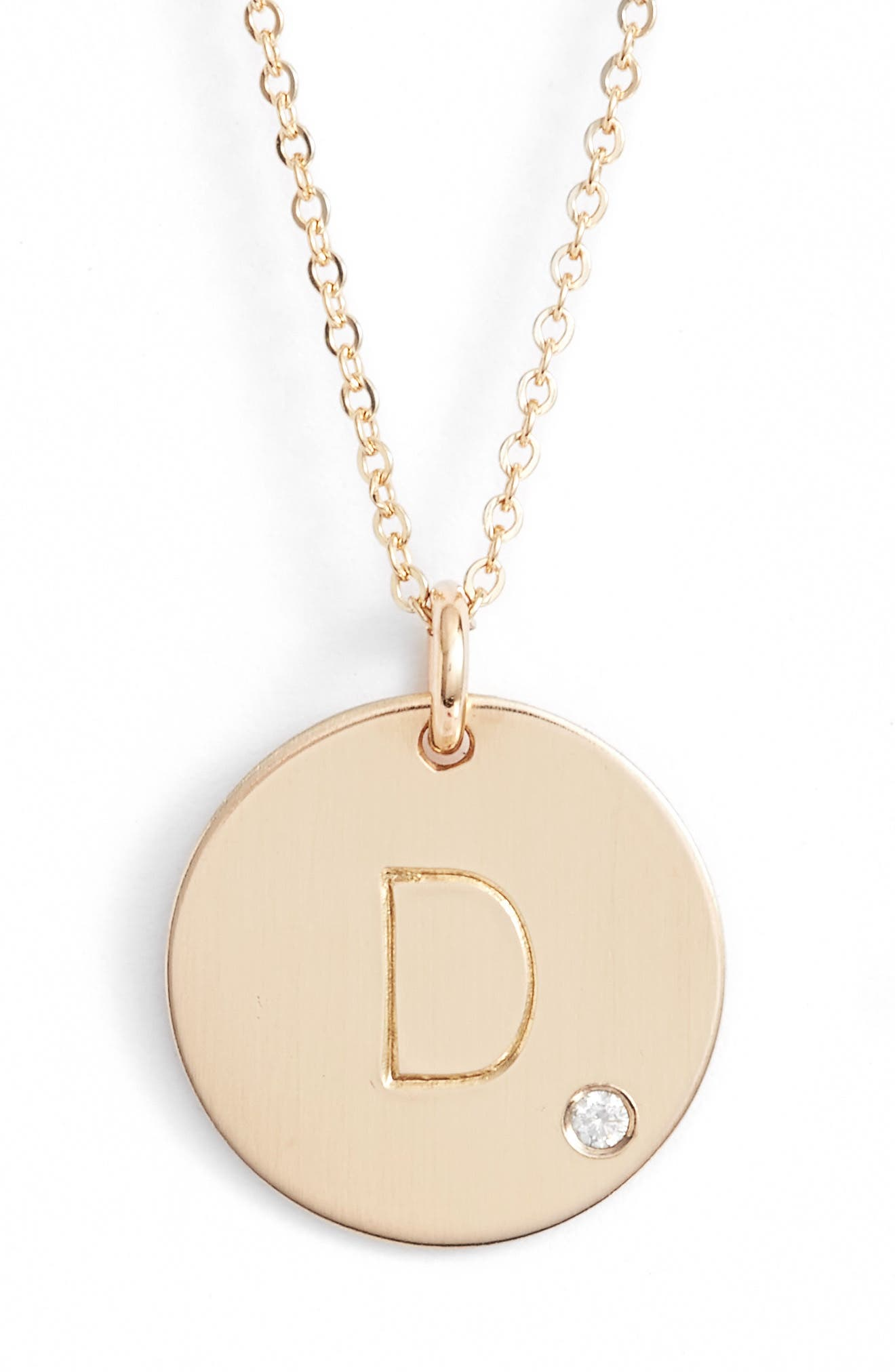 Diamond Initial Pendant Necklace,                             Main thumbnail 1, color,                             Gold/ D