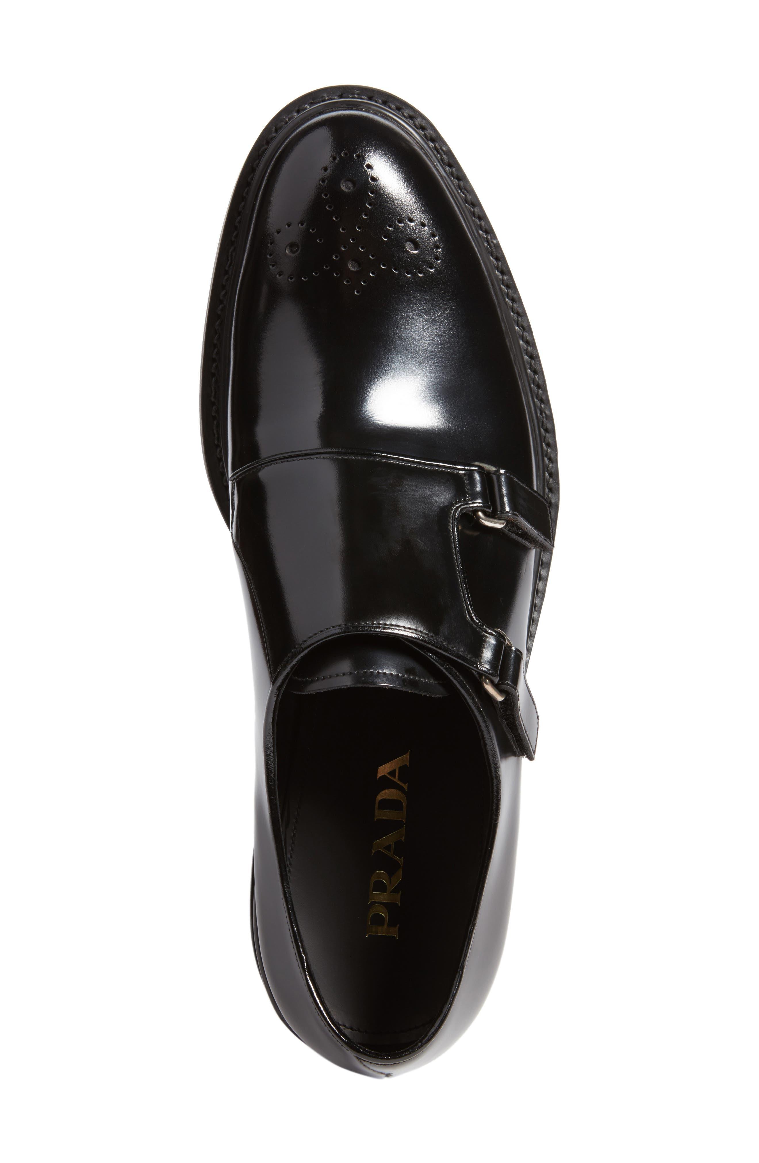 Double Monk Strap Shoe,                             Alternate thumbnail 5, color,                             Nero