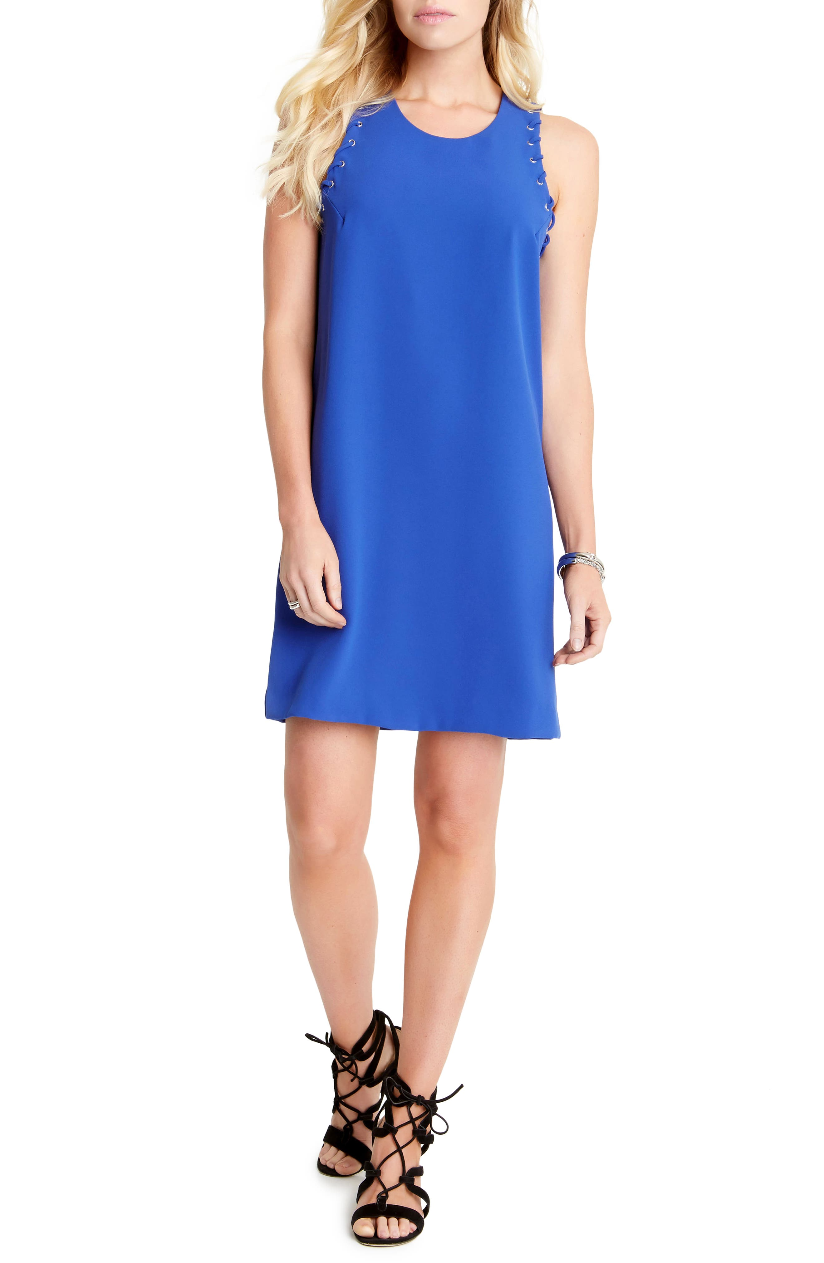 Grommet Detail Crepe Shift Dress,                             Main thumbnail 1, color,                             Iris