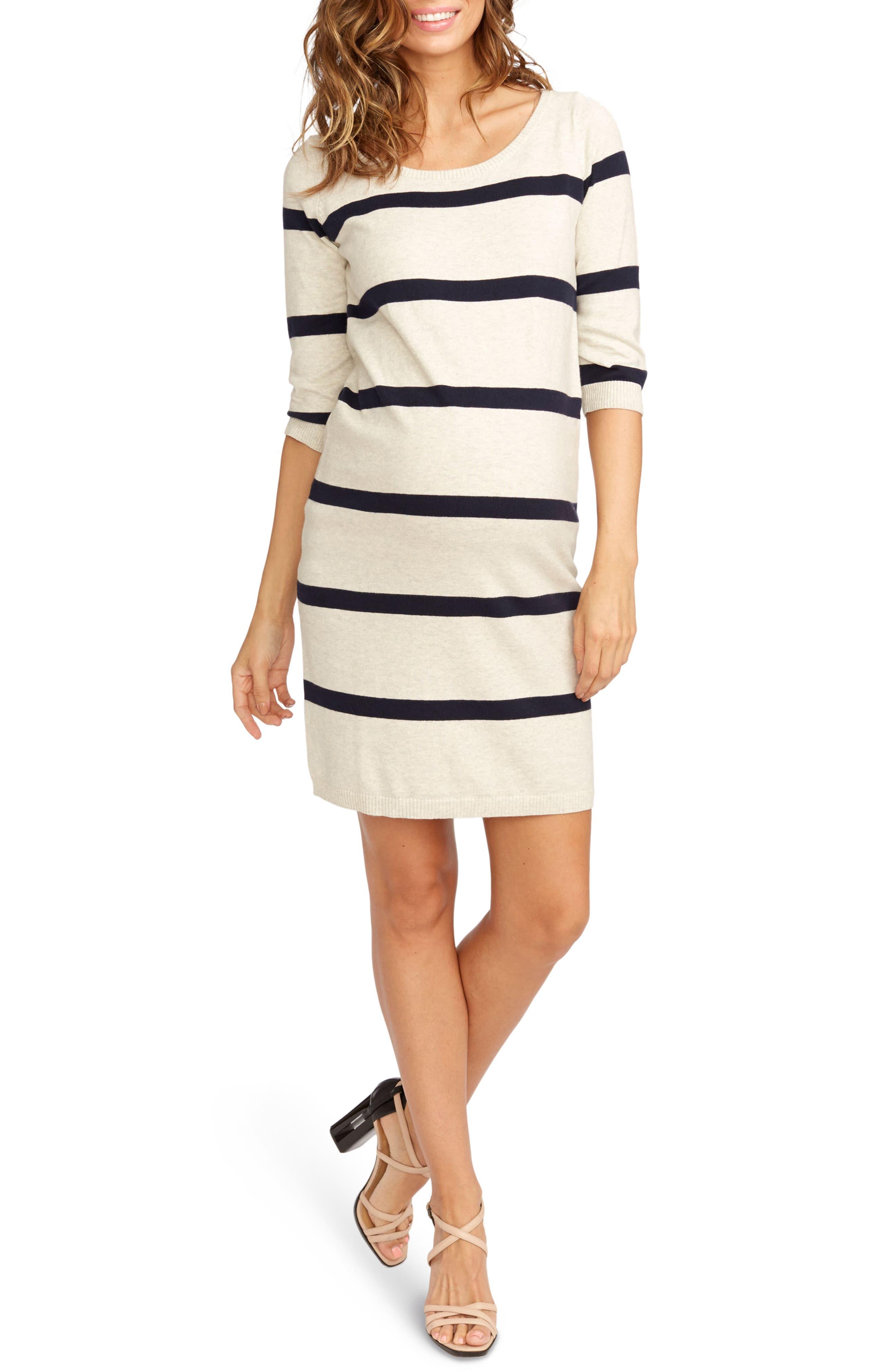 'Harper' Stripe Maternity Sweater Dress,                             Main thumbnail 1, color,                             Ivory Heather/ Navy