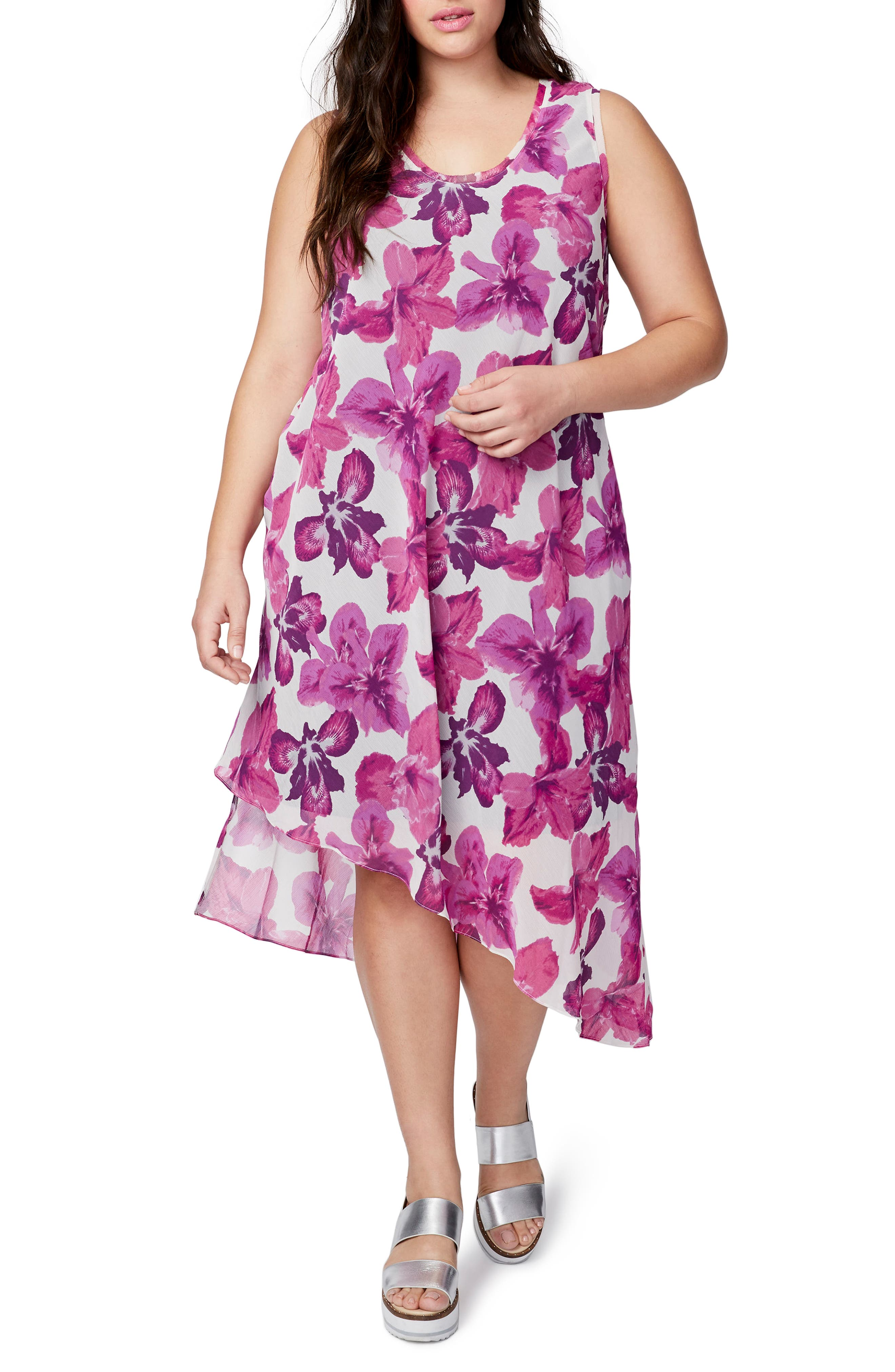 Asymmetrical Floral Midi Dress,                         Main,                         color, Cream/ Pink Iris
