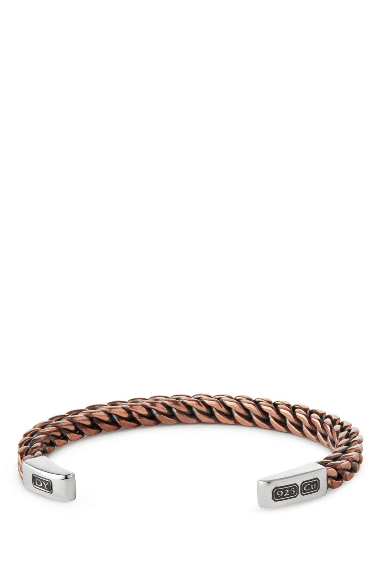 Woven Cuff Bracelet,                             Main thumbnail 1, color,                             Silver/ Copper