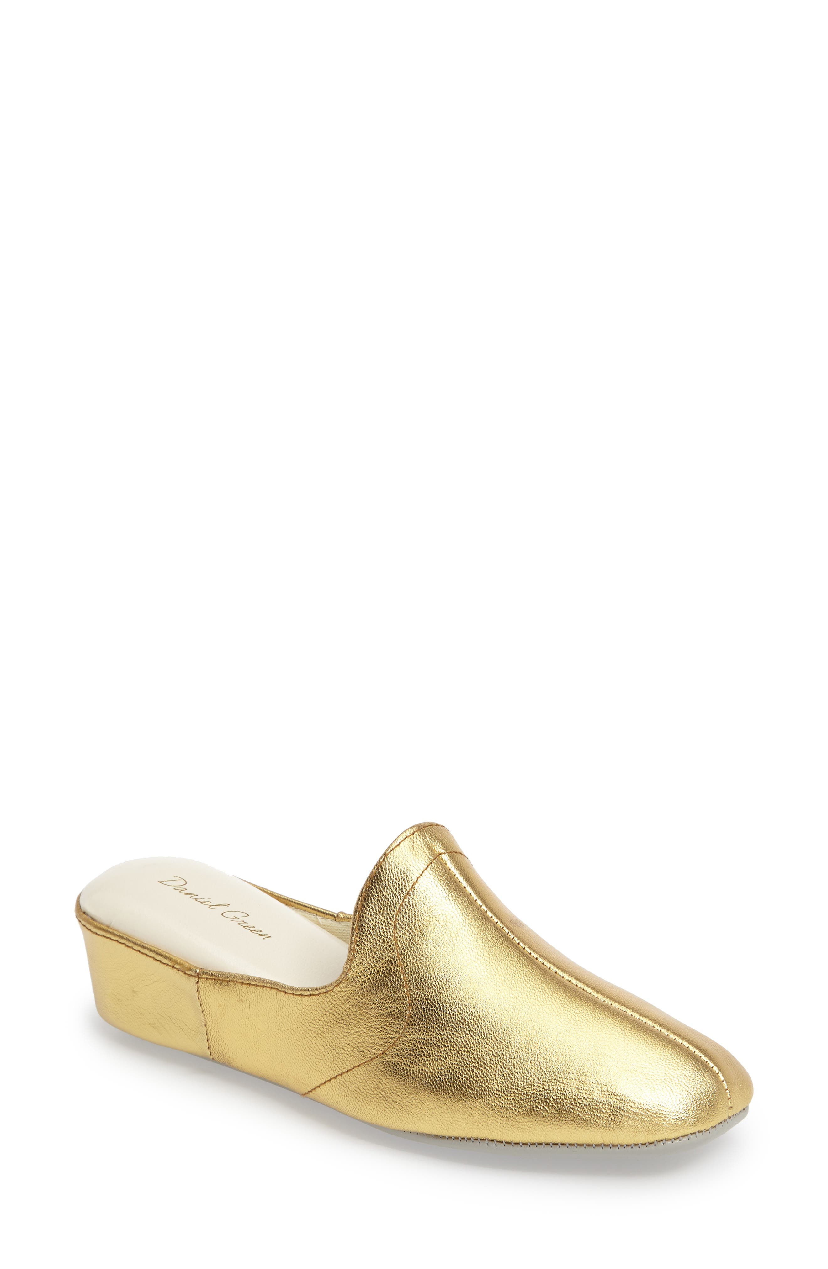 Glamour Scuff Slipper,                             Main thumbnail 1, color,                             Gold Leather