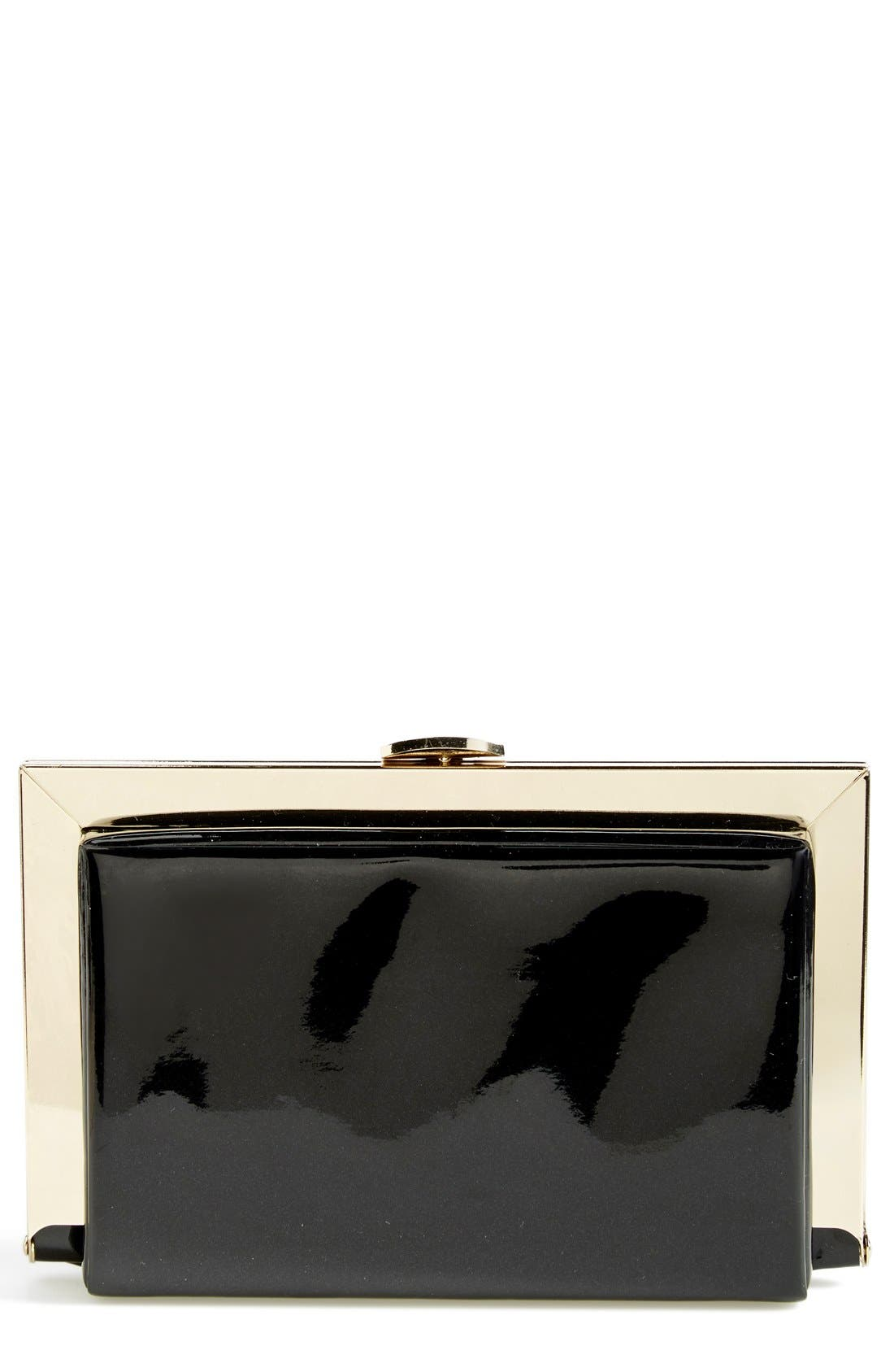 Main Image - Natasha Couture Patent Framed Box Clutch