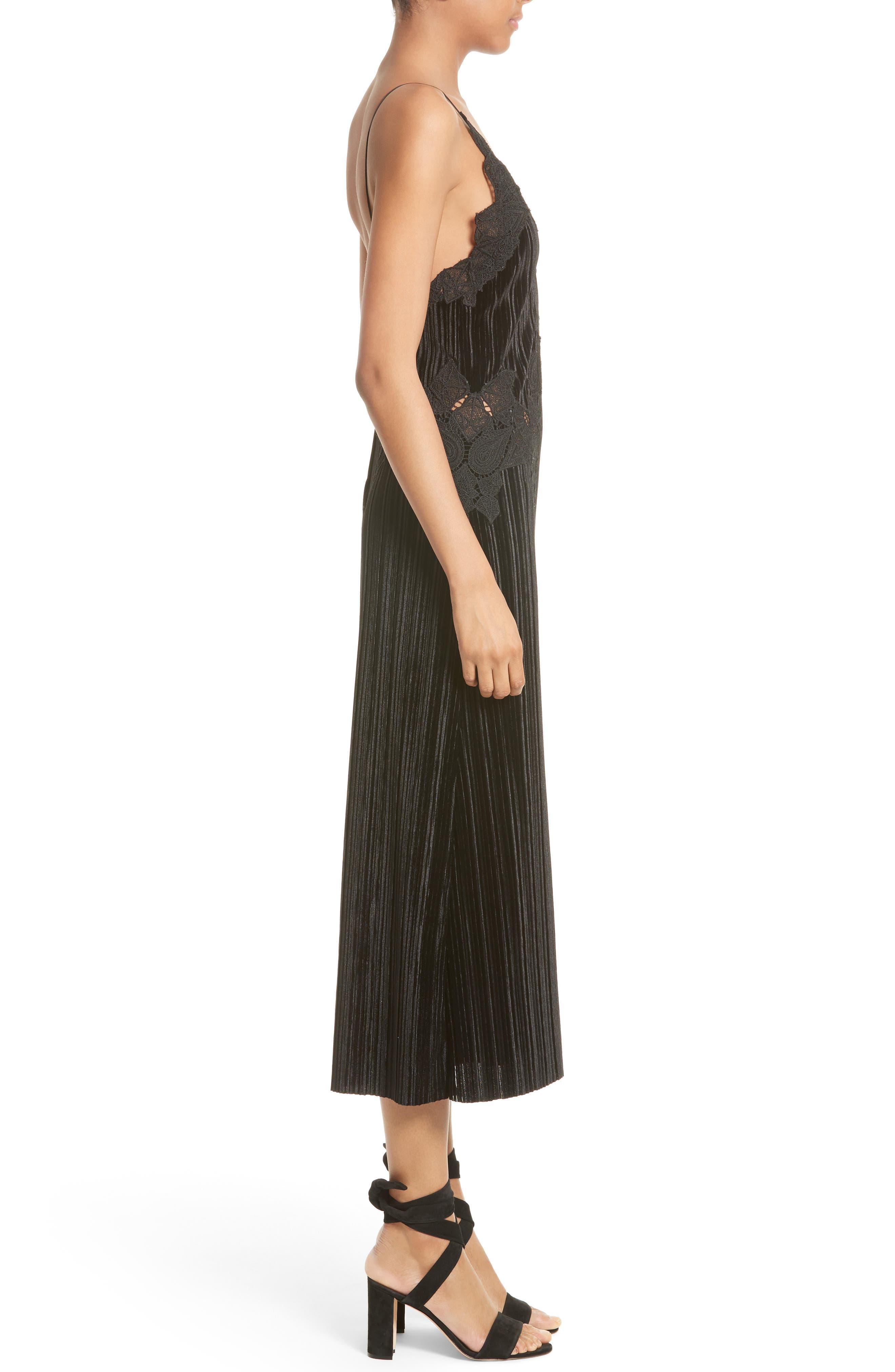 Lace Appliqué Crinkled Velvet Dress,                             Alternate thumbnail 3, color,                             Black