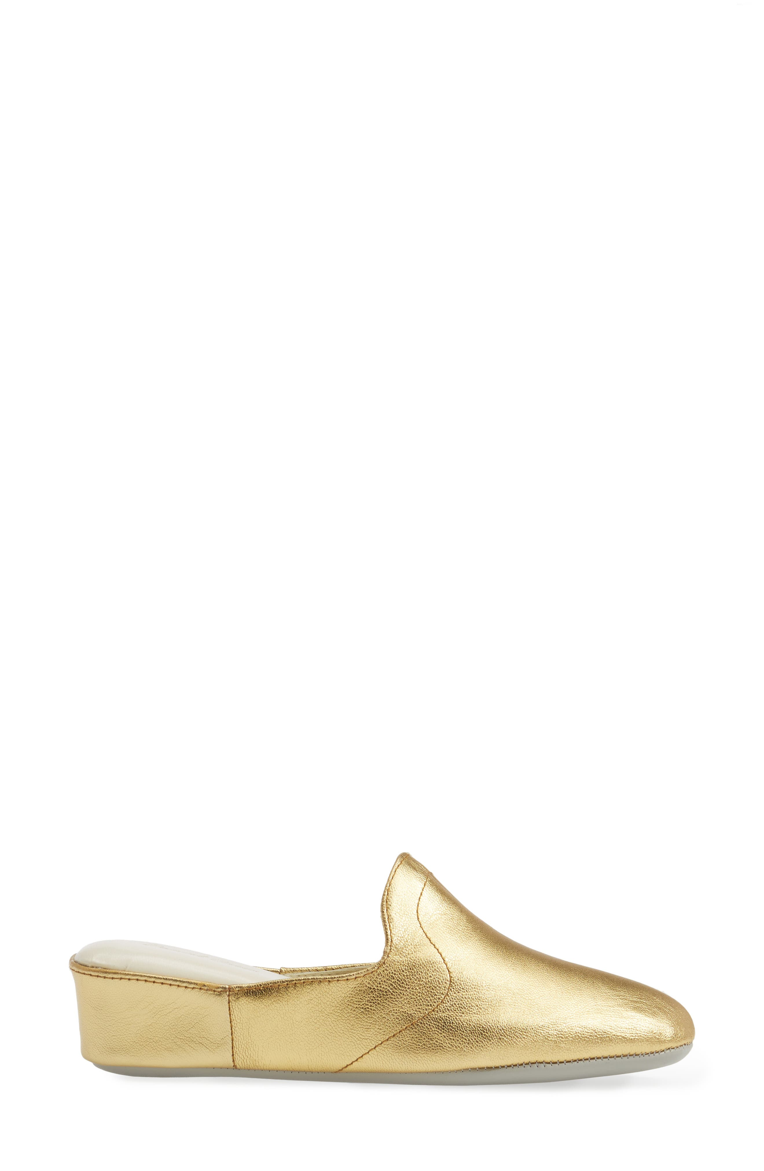 Glamour Scuff Slipper,                             Alternate thumbnail 3, color,                             Gold Leather