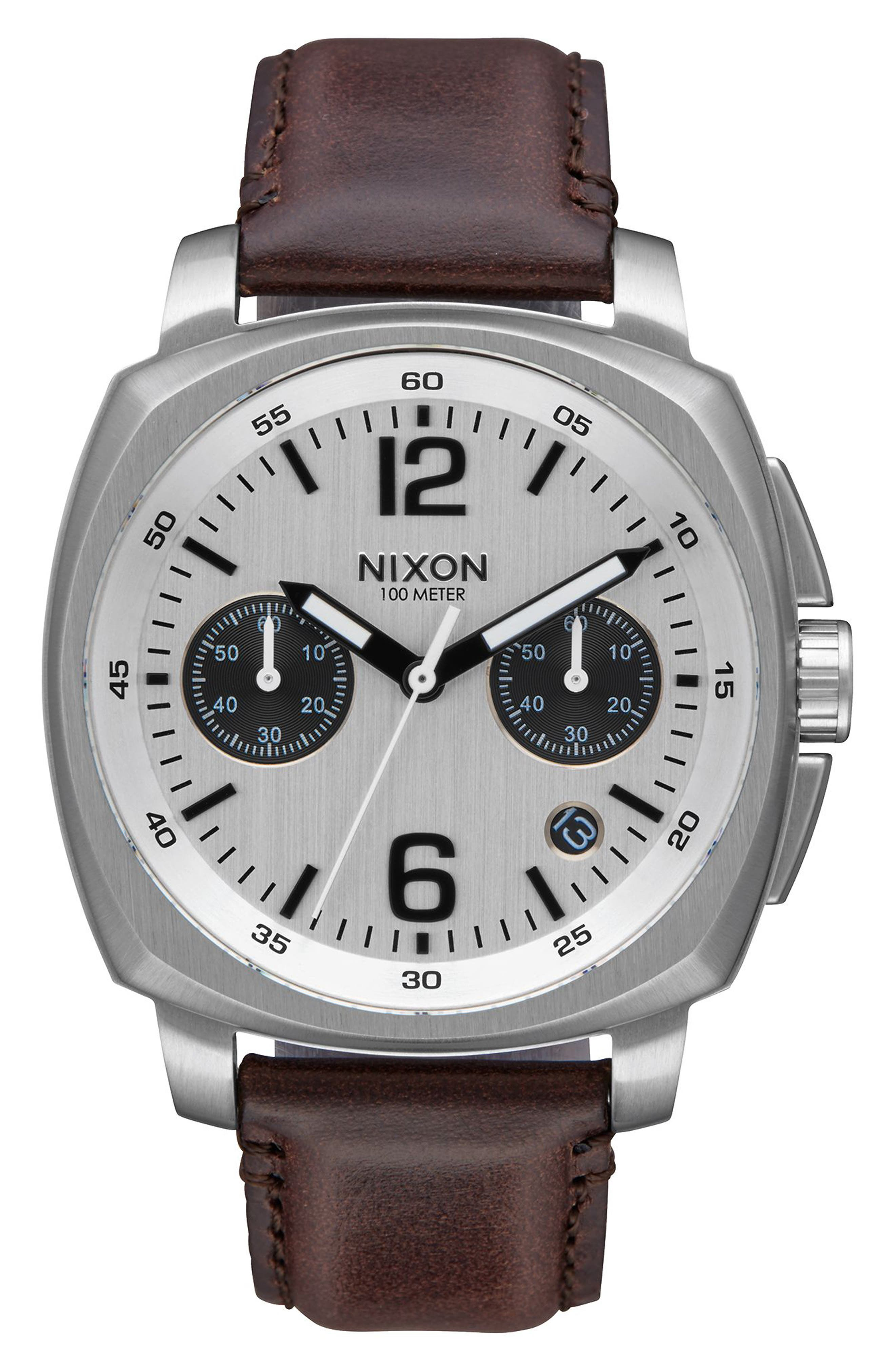 Charger Chronograph Leather Strap Watch, 42mm,                         Main,                         color, Brown/ White/ Silver