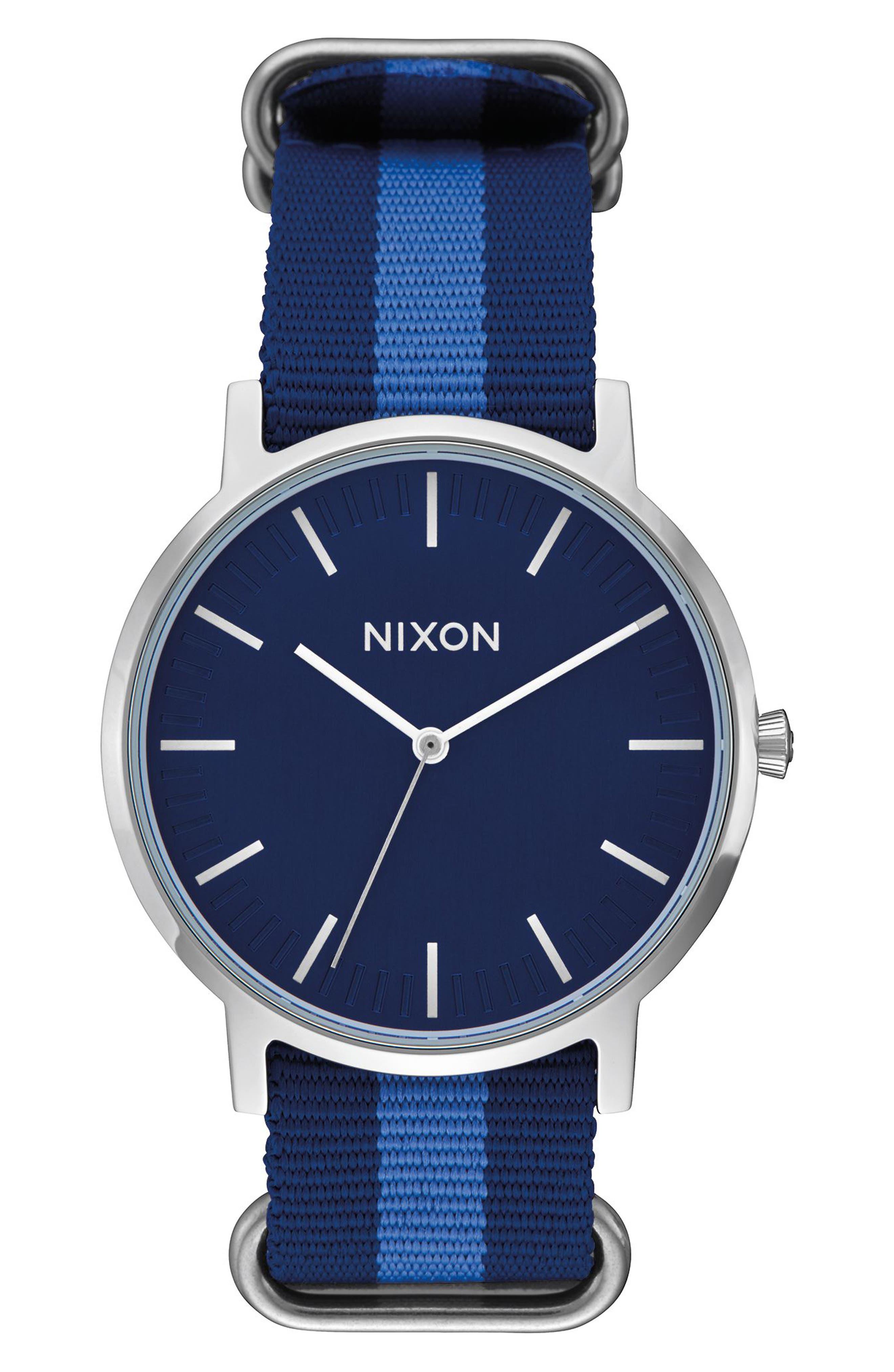Porter Nylon Strap Watch, 40mm,                         Main,                         color, Navy/ Silver
