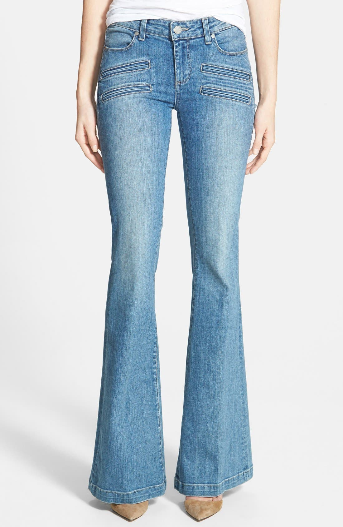 Denim 'Fionna' Flare Jeans,                             Main thumbnail 1, color,                             Paulina No Whiskers