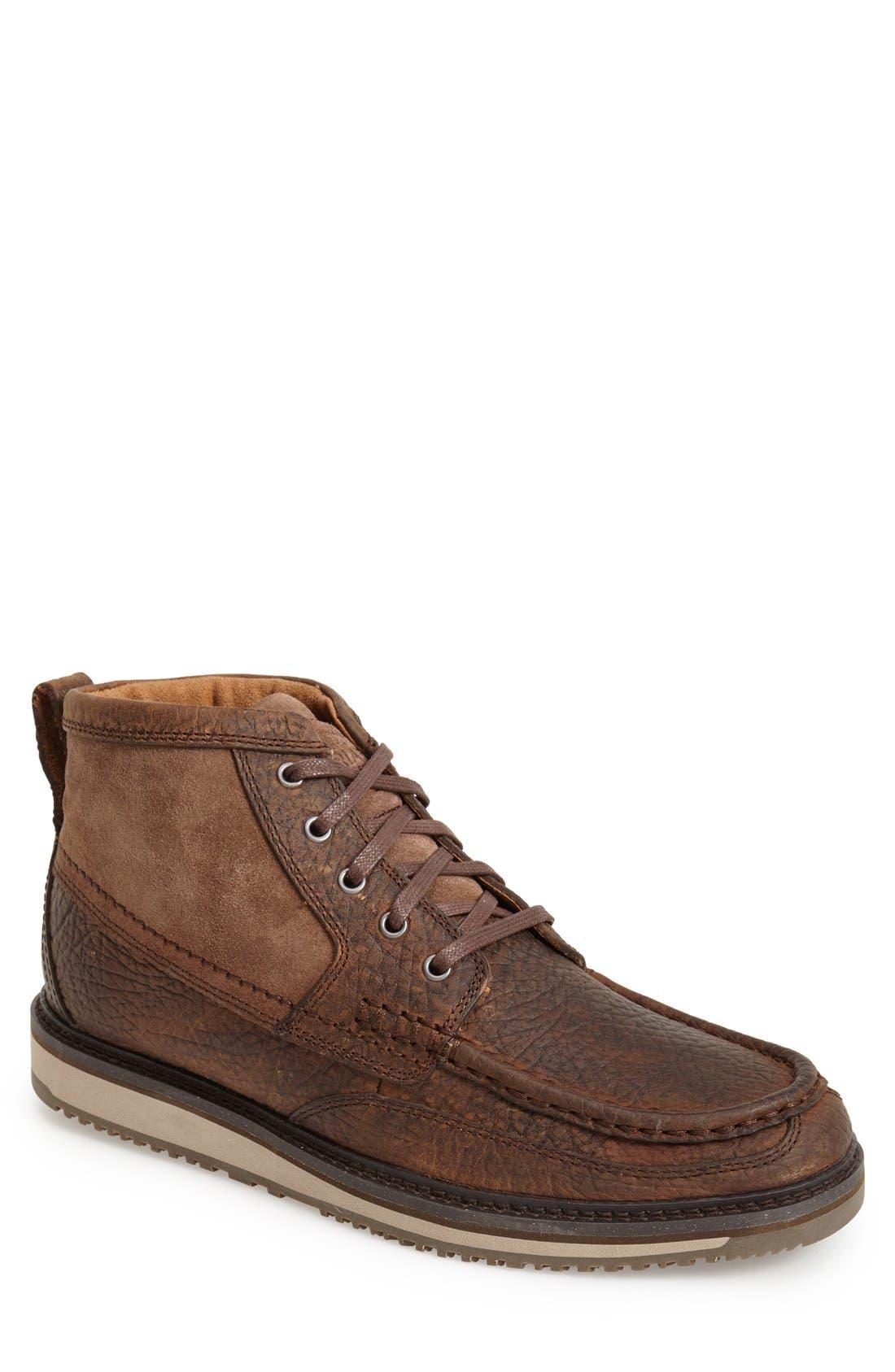 'Lookout' Moc Toe Boot,                             Main thumbnail 1, color,                             Brown