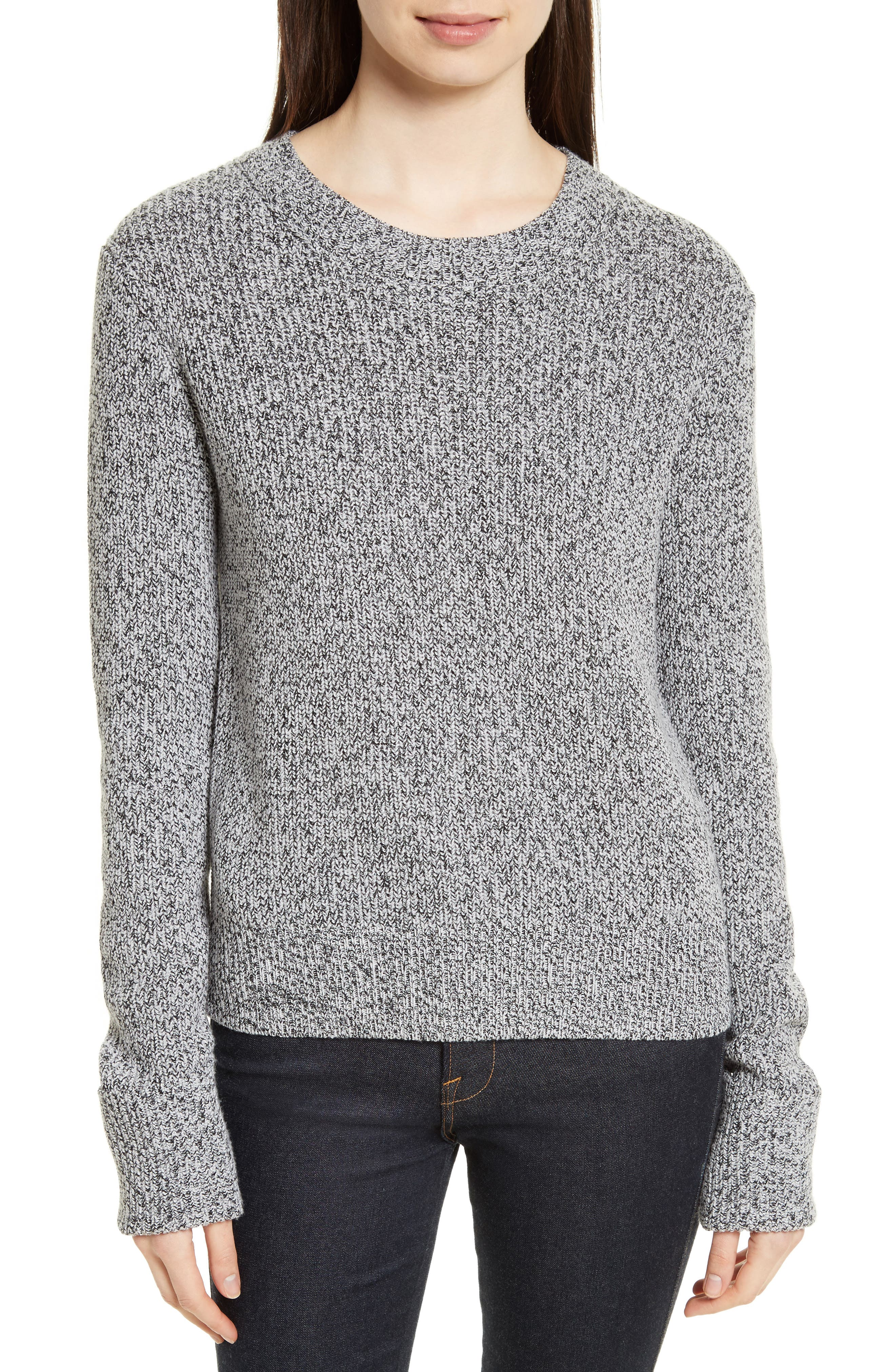 Rib Cuff Marled Sweater,                             Main thumbnail 1, color,                             Black/ Ivory