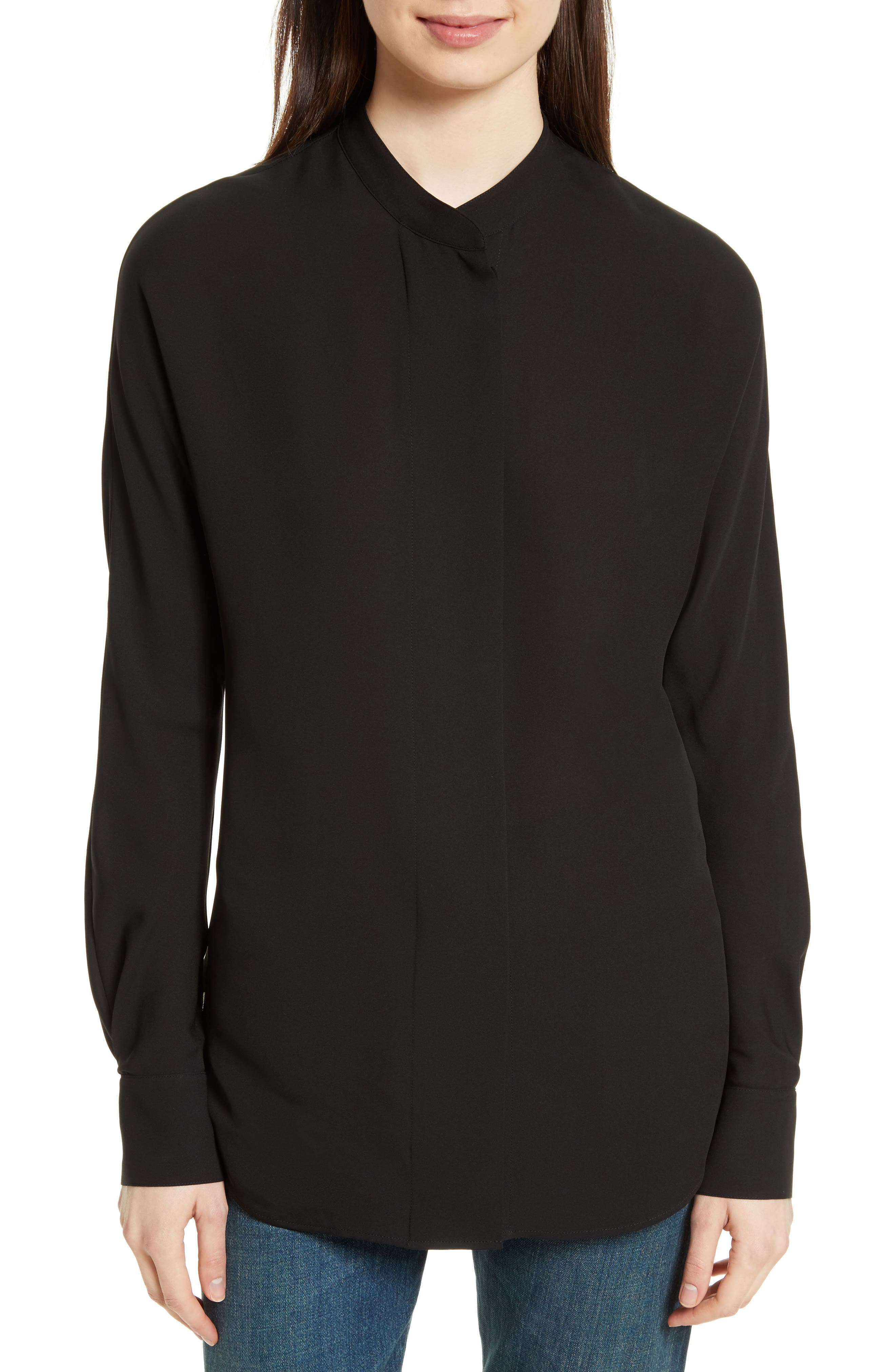 THEORY Classic Perfect Dolman Sleeve Silk Blouse