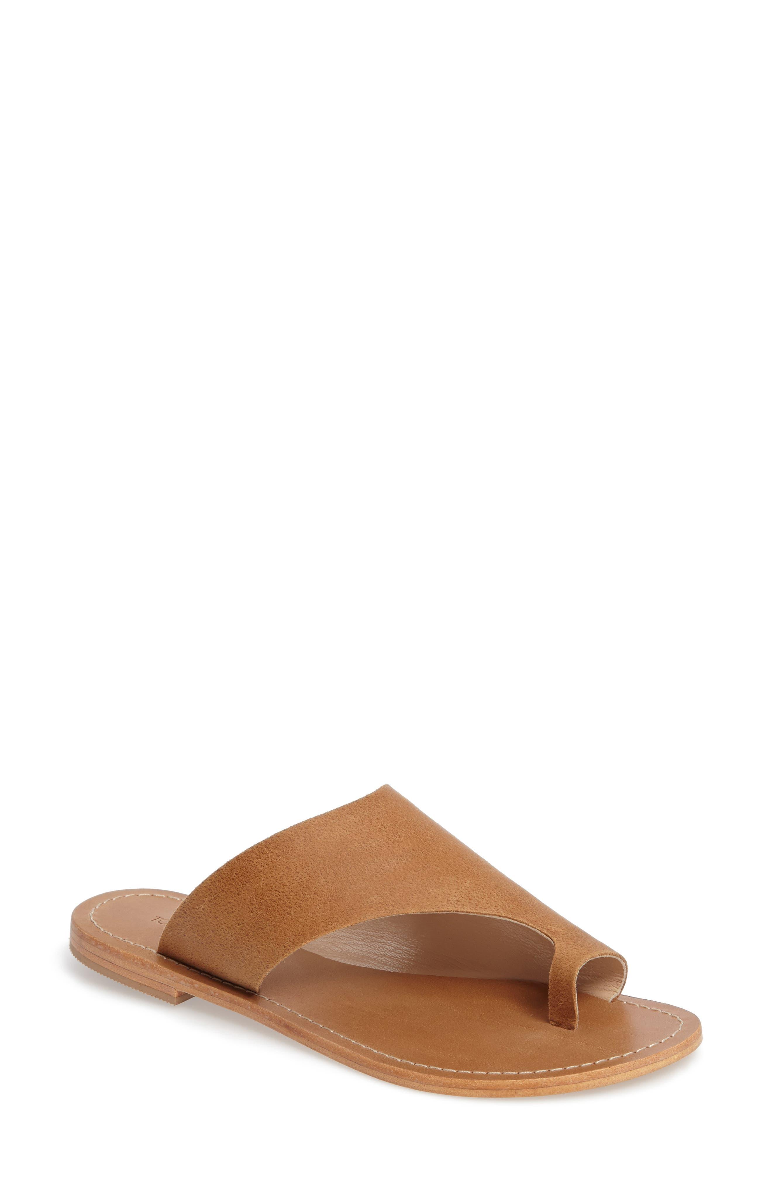 Fleet Slide Sandal,                         Main,                         color, Tan Leather
