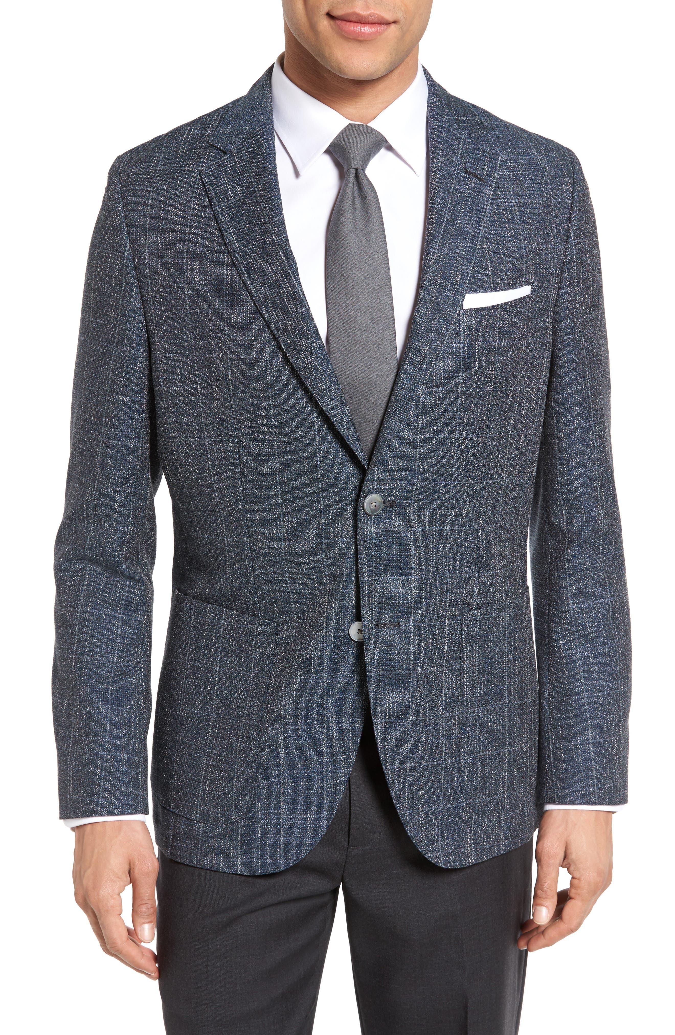 Janson Trim Fit Windowpane Wool Blend Sport Coat,                         Main,                         color, Navy