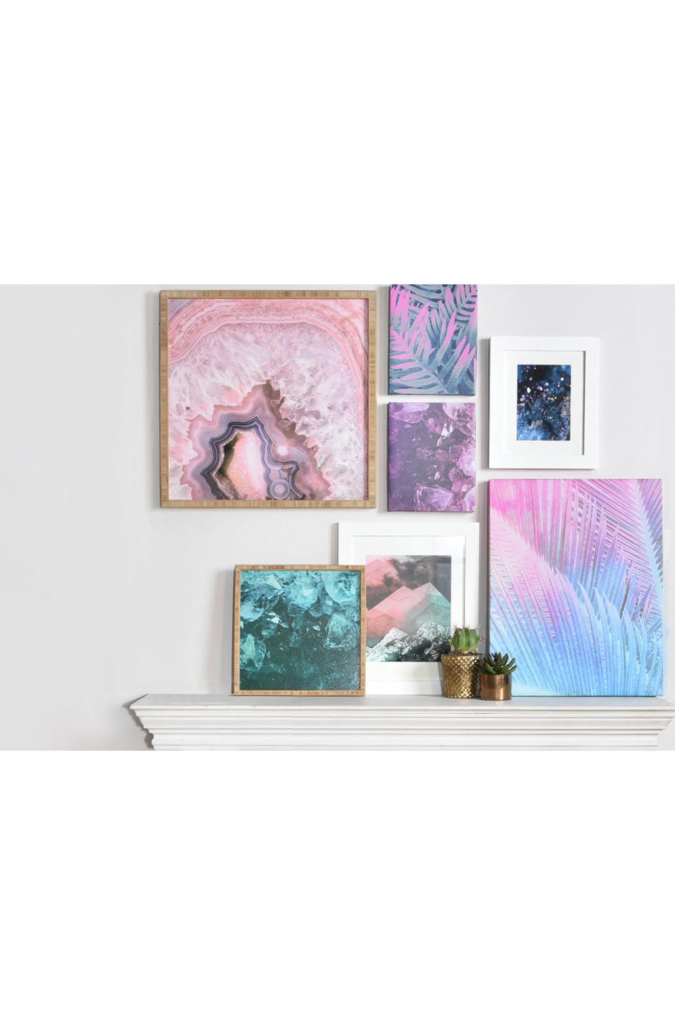 Pale Pink Agate Framed Wall Art,                             Alternate thumbnail 3, color,                             Pink