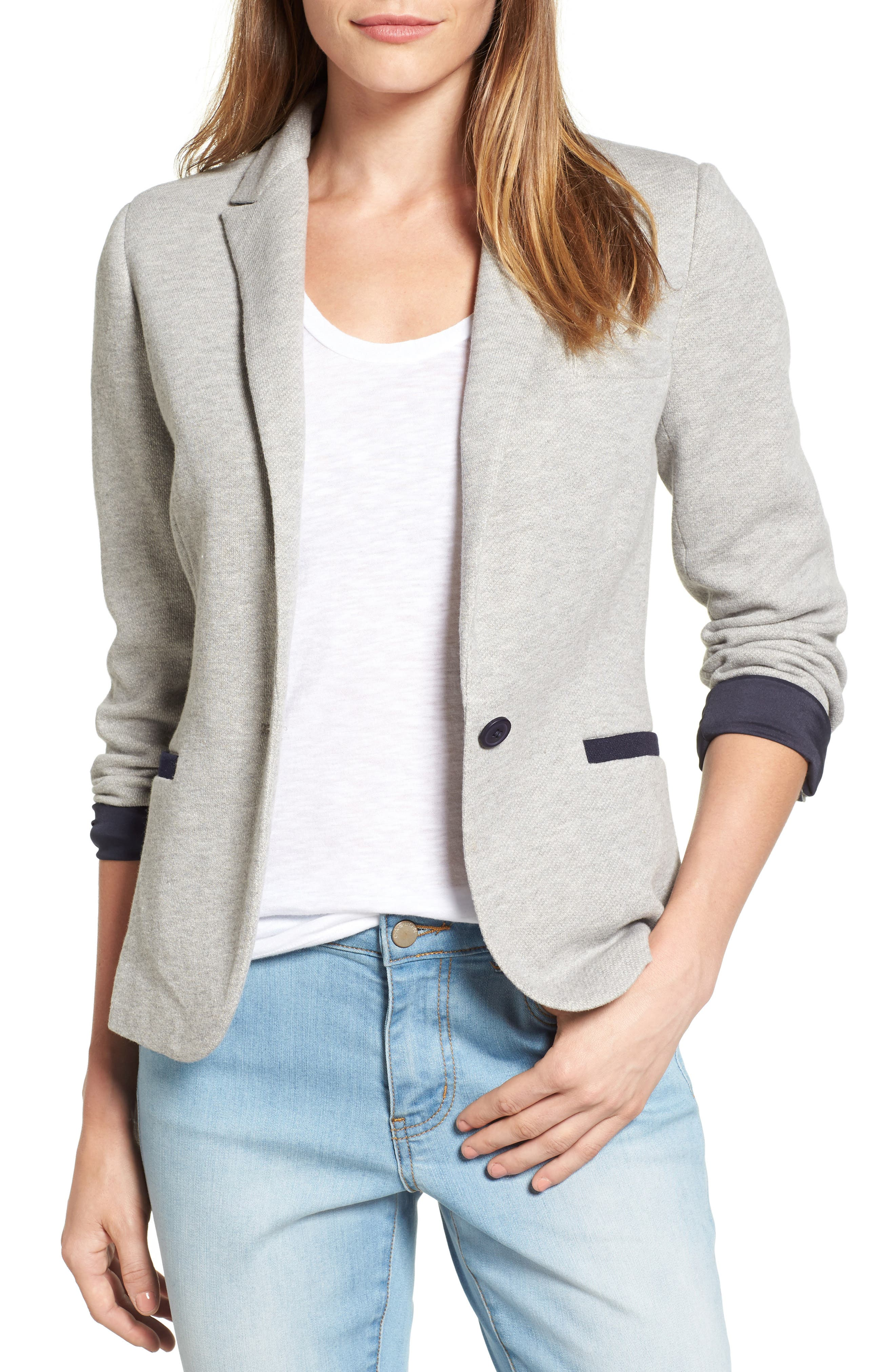 Alternate Image 1 Selected - Olivia Moon Elbow Patch Knit Blazer (Regular & Petite)