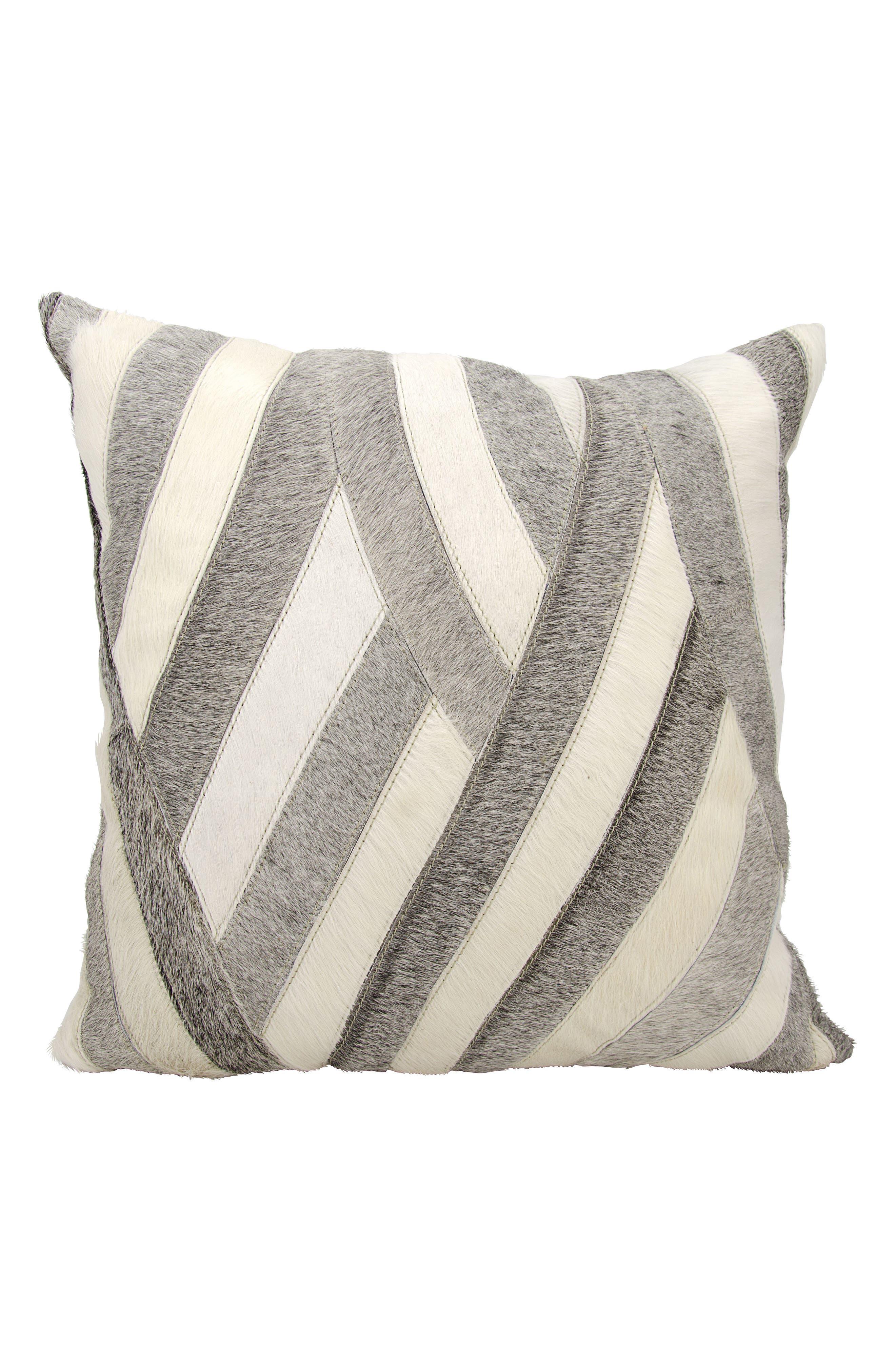 Mina Victory Wavy Stripes Genuine Calf Hair Accent Pillow