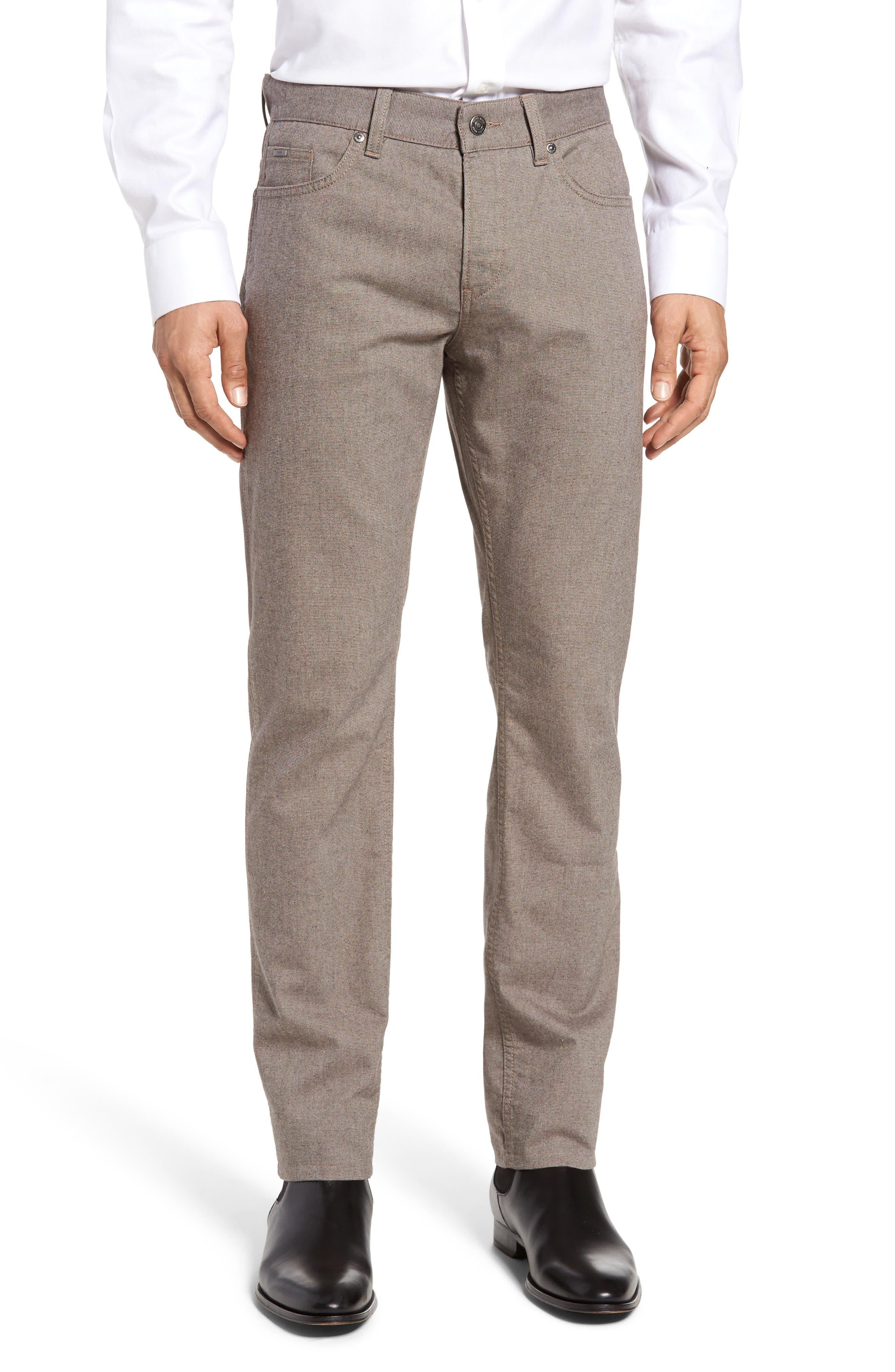 BOSS Delaware Microprint Slim 5-Pocket Pants