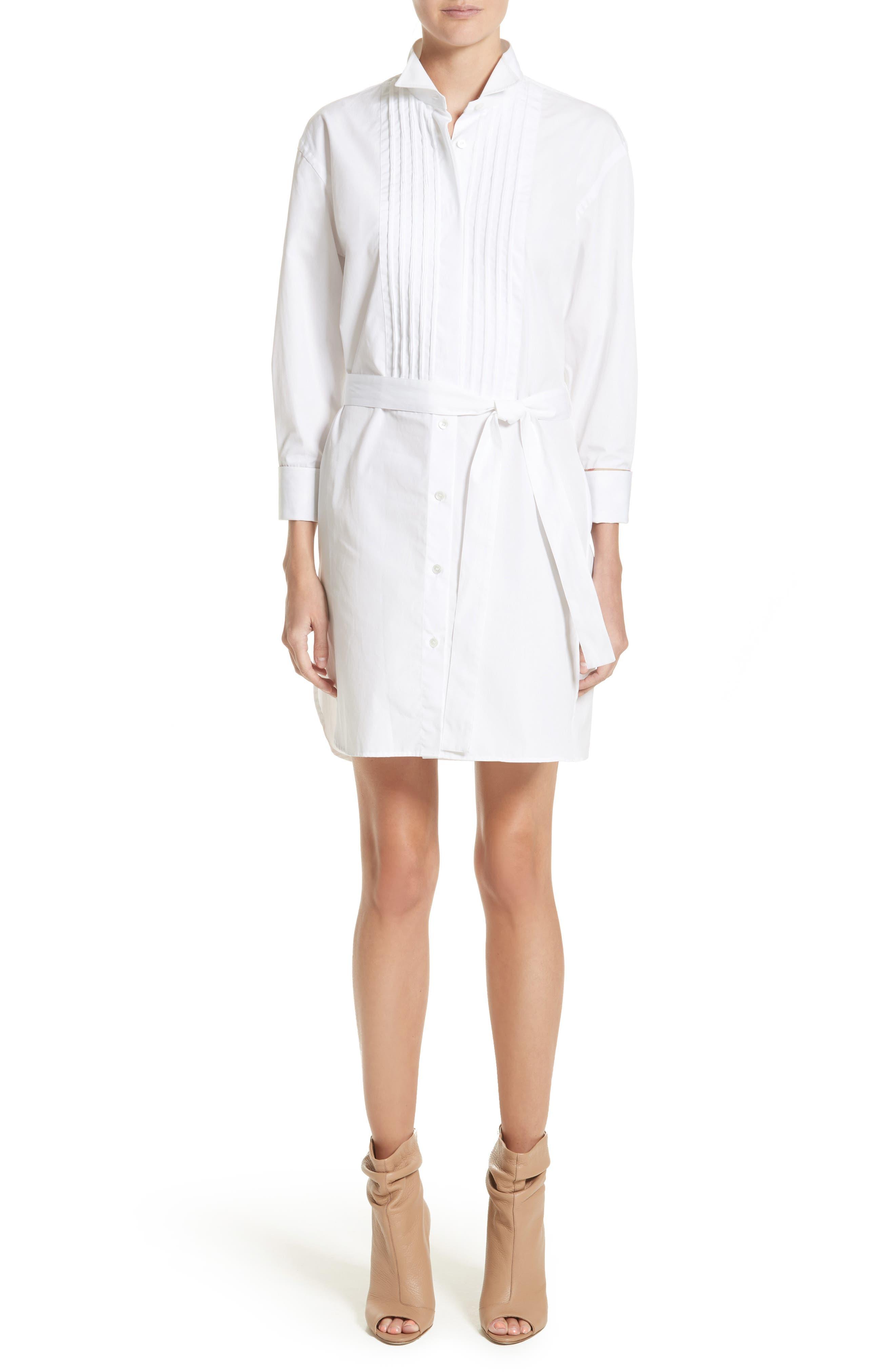 Madeline Cotton Poplin Shirtdress,                         Main,                         color, White