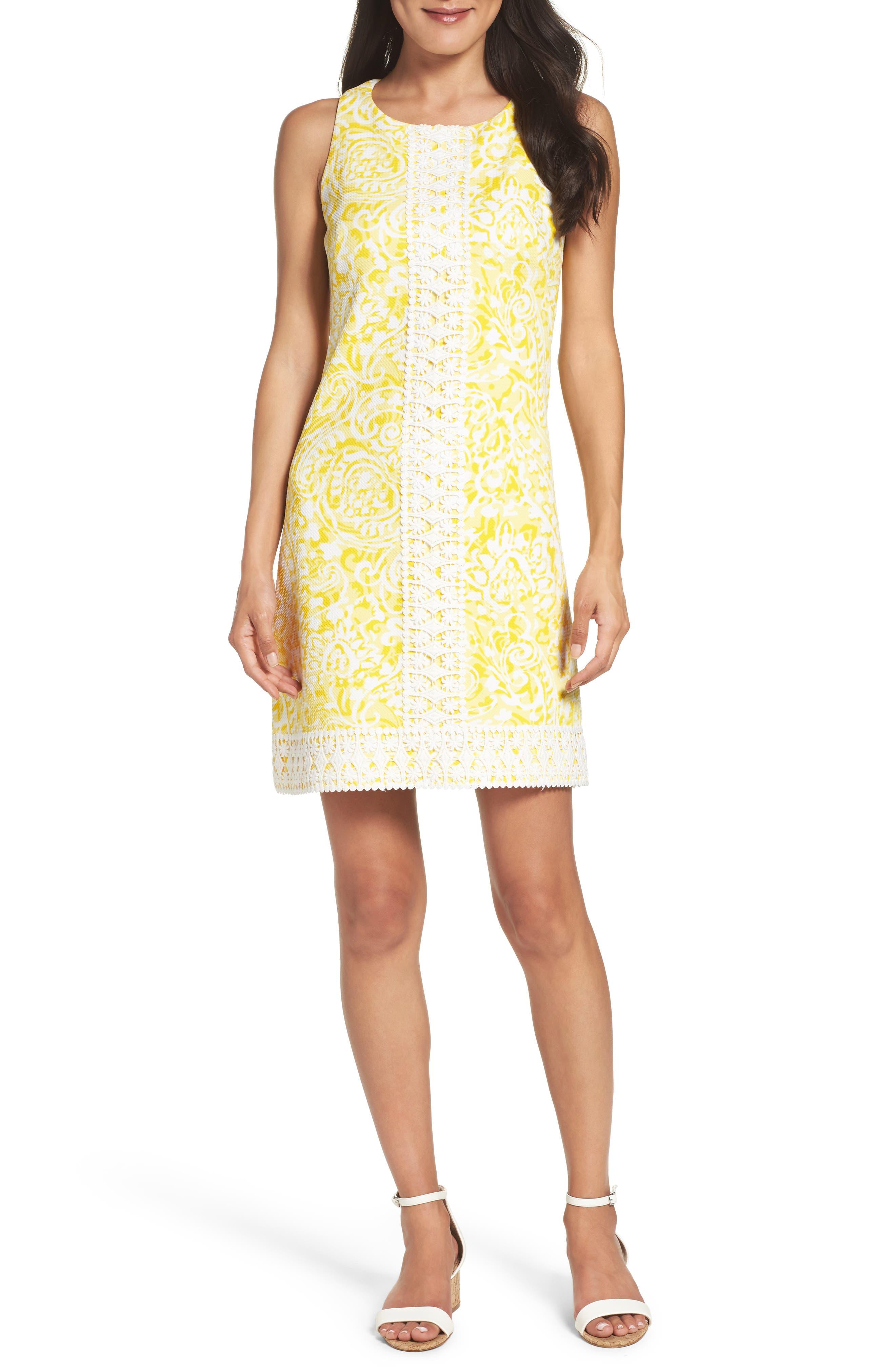 Print Shift Dress,                             Main thumbnail 1, color,                             Yellow