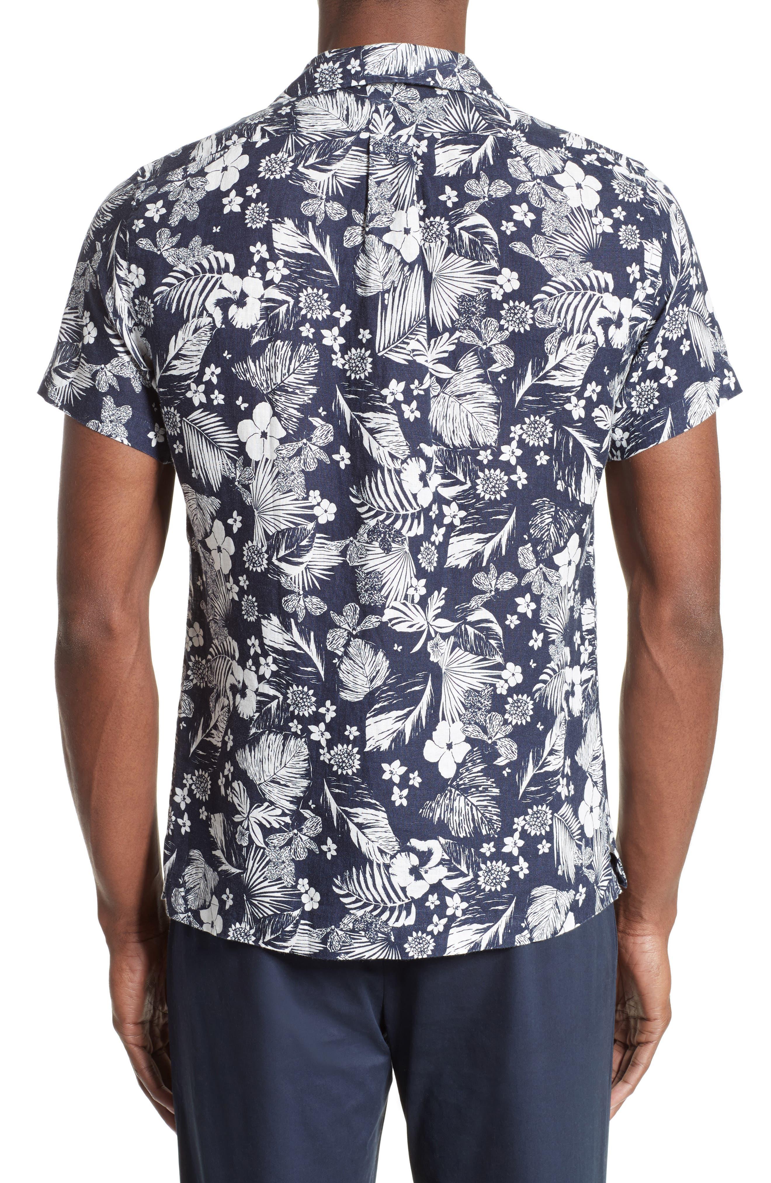 Alternate Image 2  - Todd Snyder Trim Fit Floral Print Linen Camp Shirt