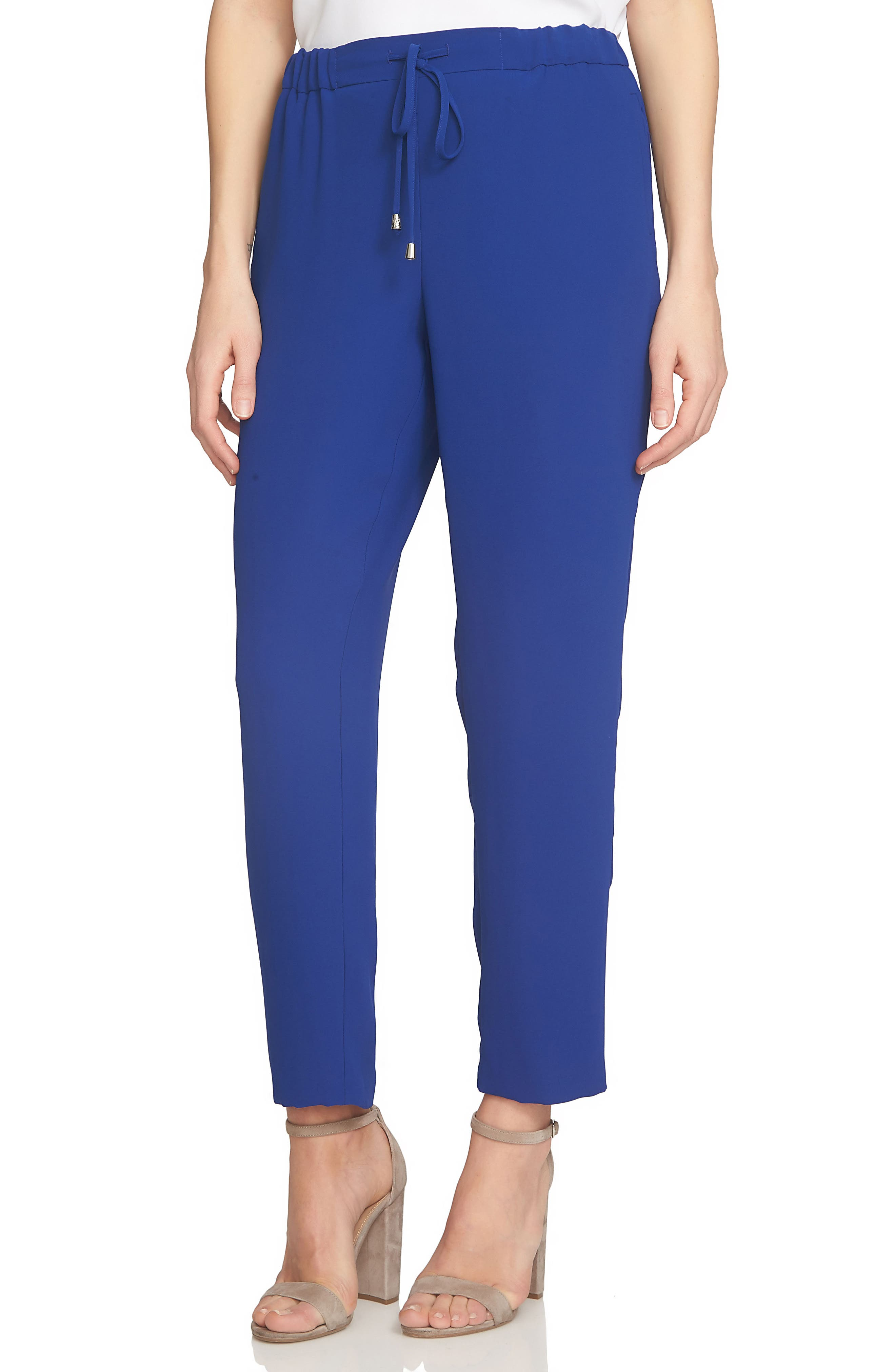 Crepe Ankle Pants,                             Main thumbnail 1, color,                             Midnight Rush