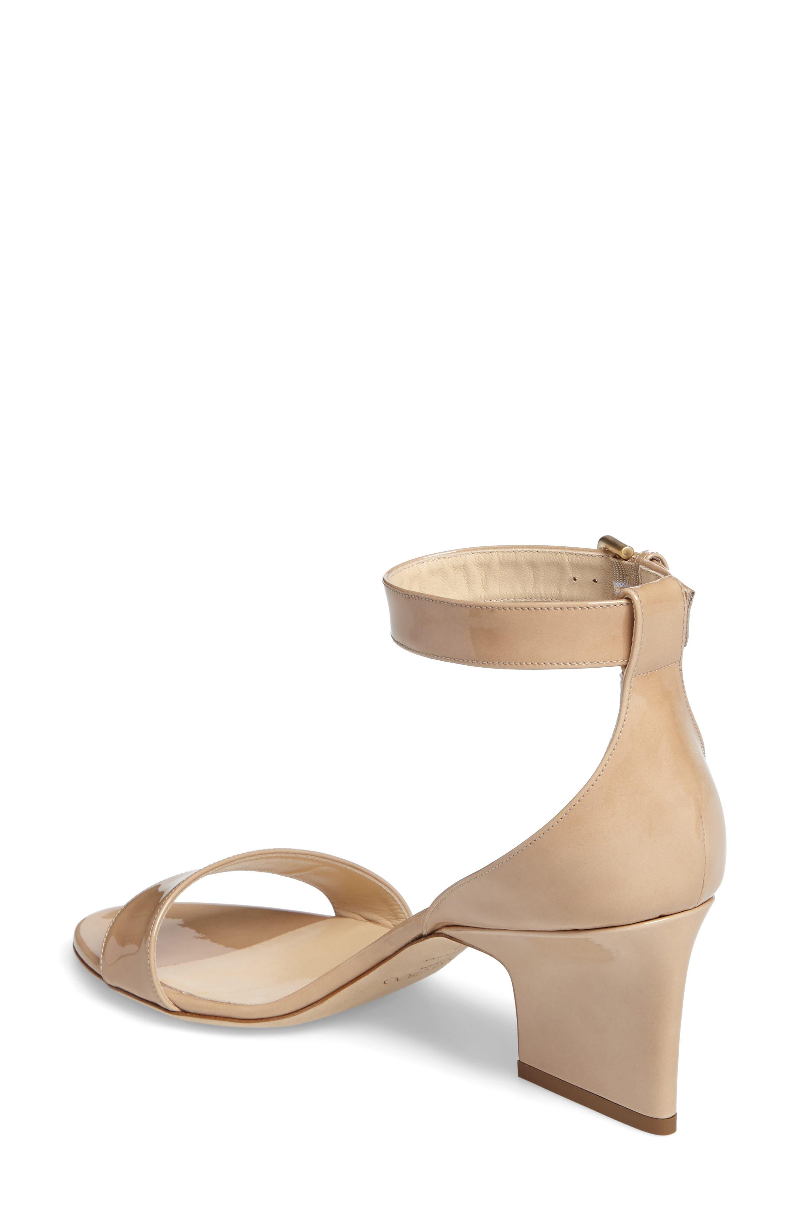 Edina Ankle Strap Sandal,                             Alternate thumbnail 2, color,                             Nude Patent