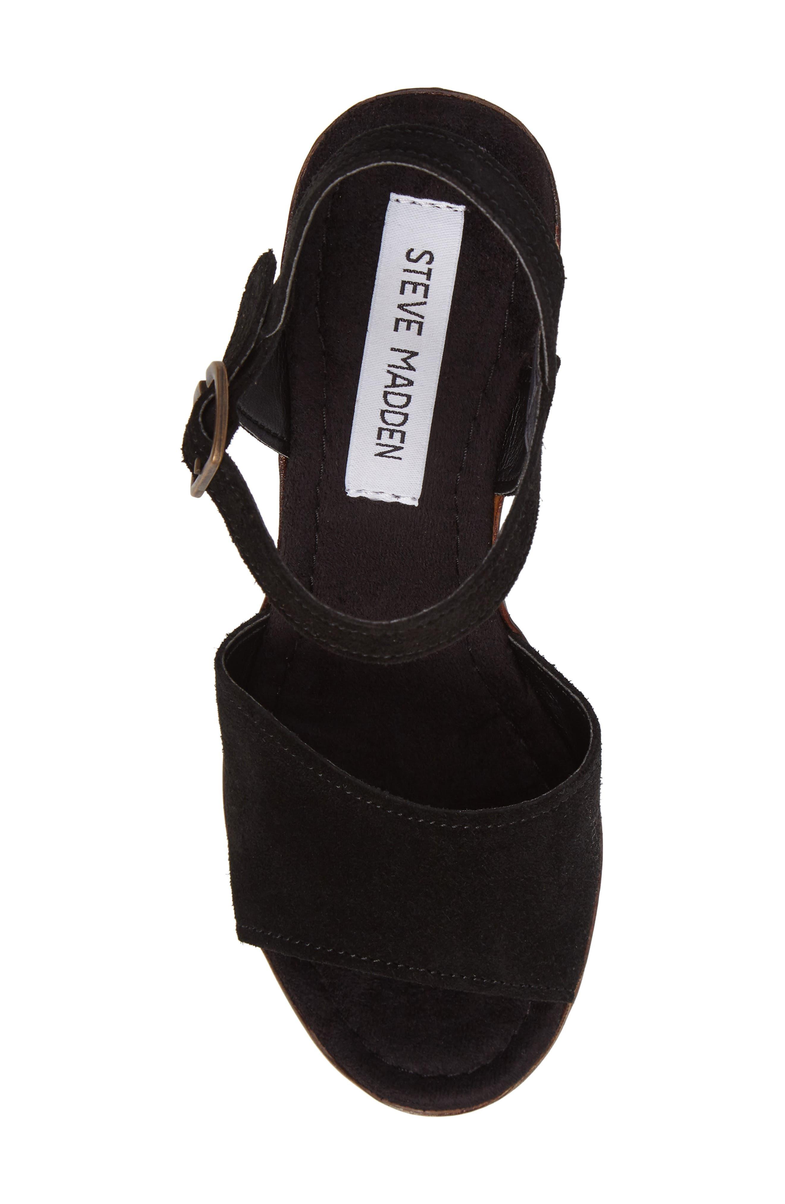 Lulla Platform Sandal,                             Alternate thumbnail 5, color,                             Black Suede