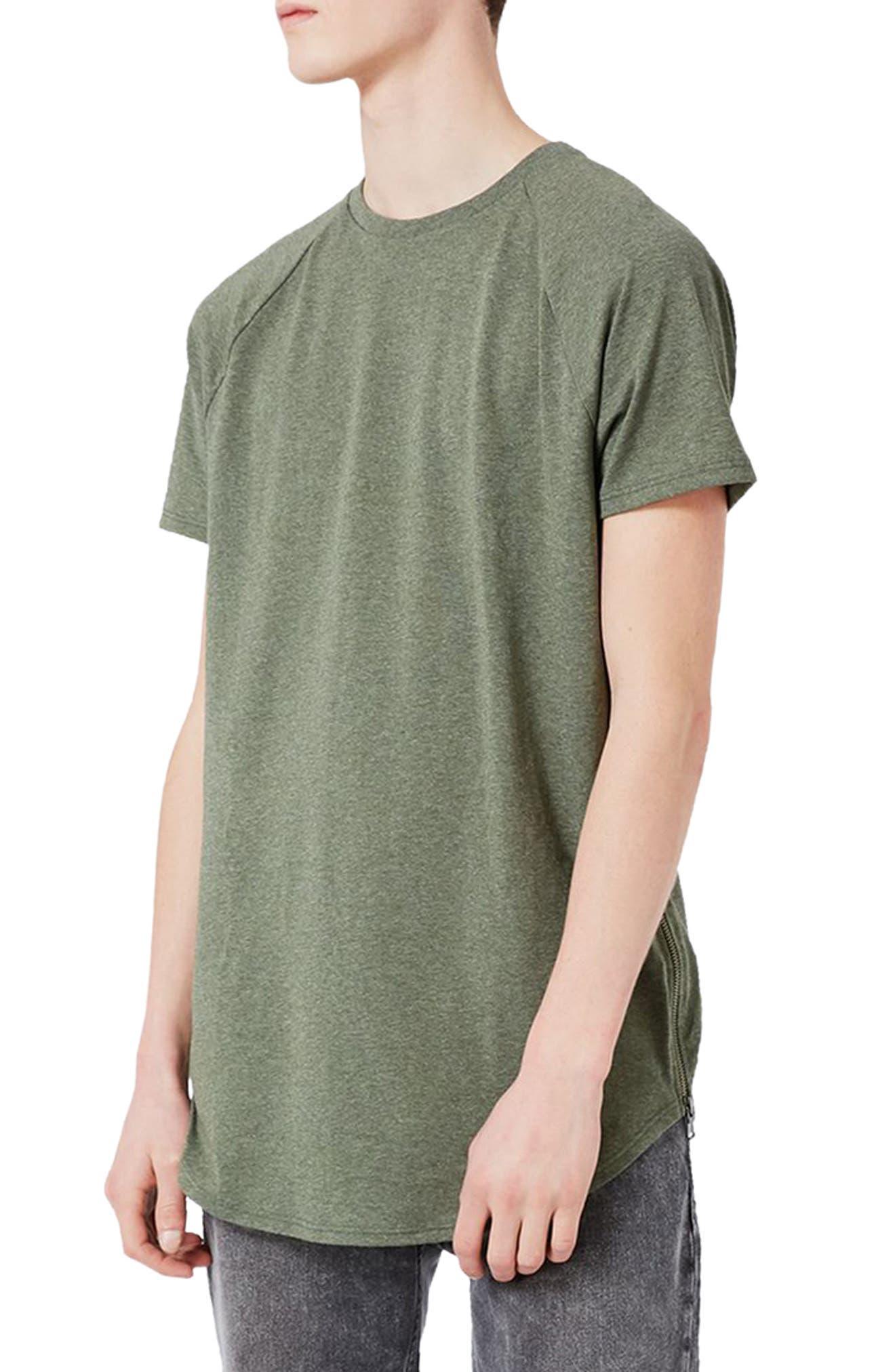 Topman Longline T-Shirt with Side Zips