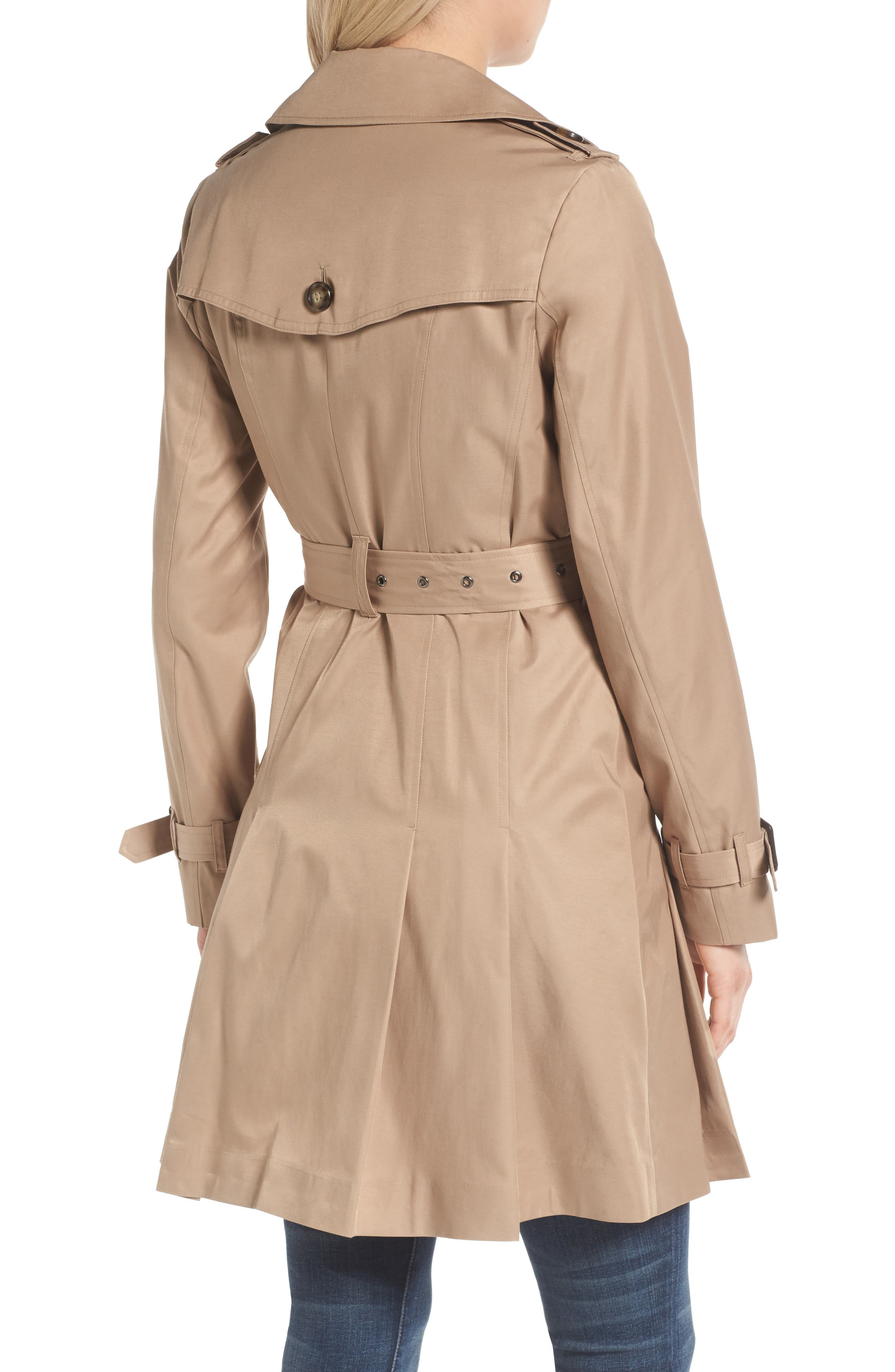 Alternate Image 2  - MICHAEL Michael Kors Double Breasted Skirted Trench Coat