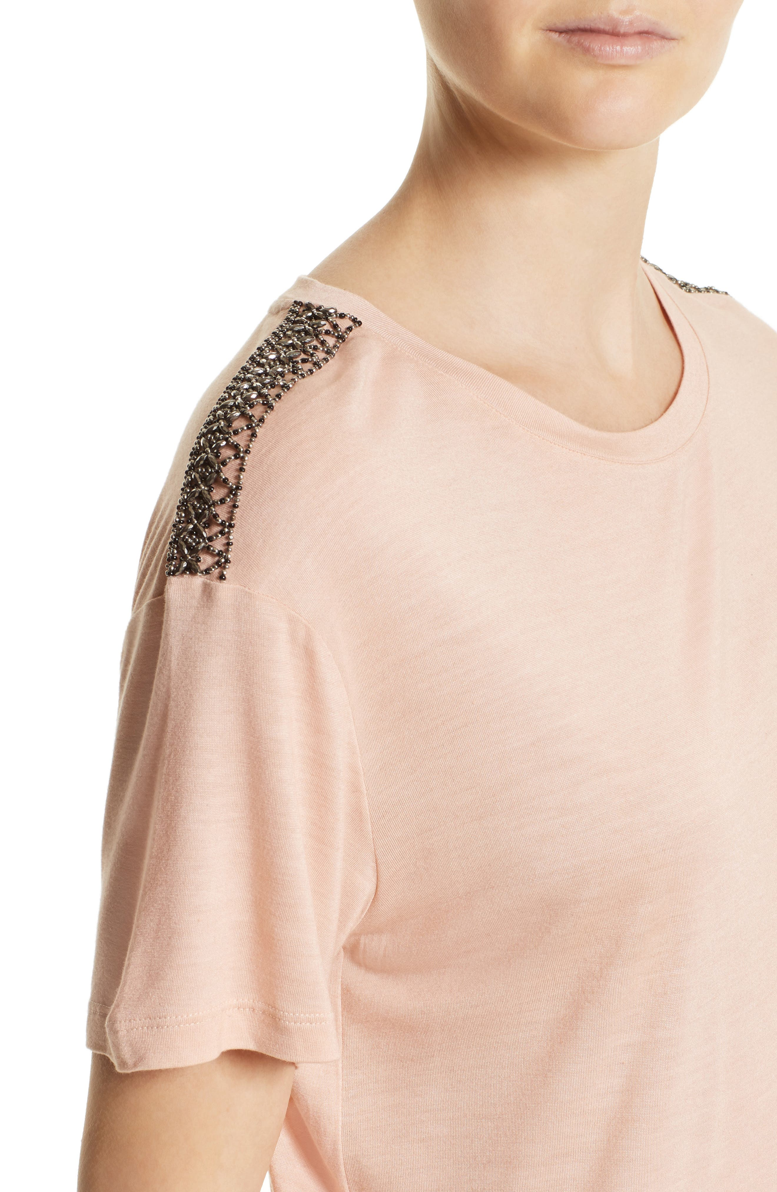 Beaded Tee,                             Alternate thumbnail 4, color,                             Pink