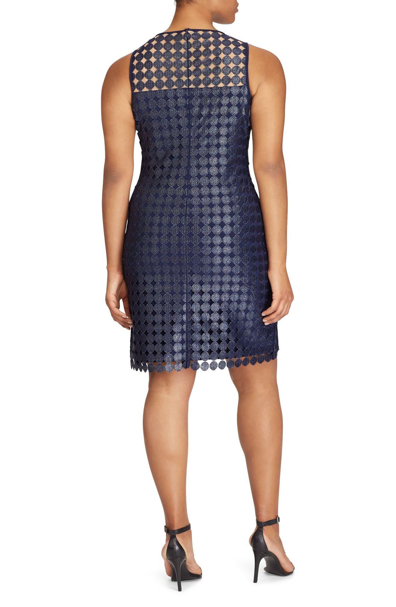 Metallic Geo Lace Sheath Dress,                             Alternate thumbnail 2, color,                             Navy-Silver Foil