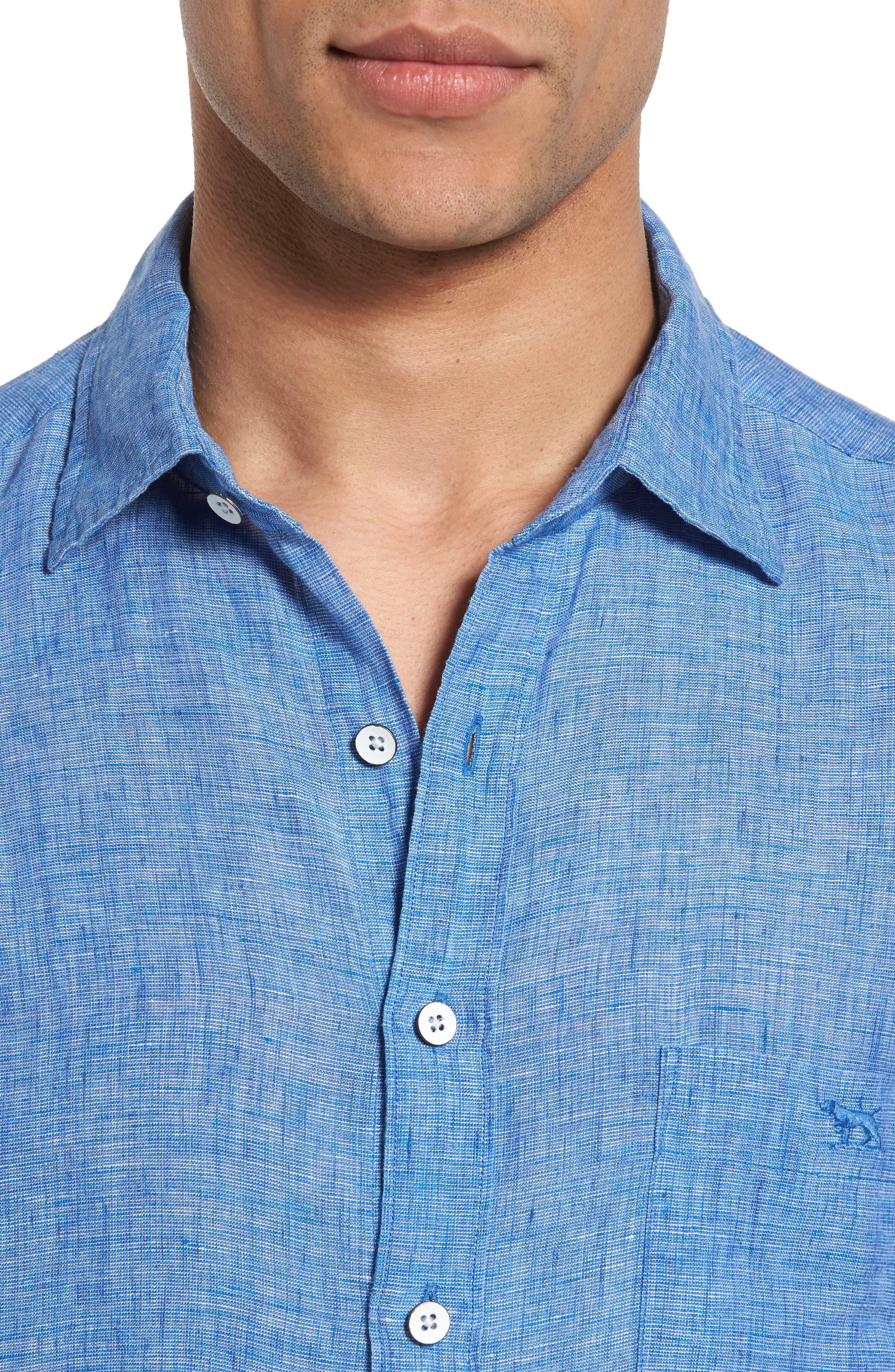Norsewood Sports Fit Linen Sport Shirt,                             Alternate thumbnail 4, color,                             Ocean